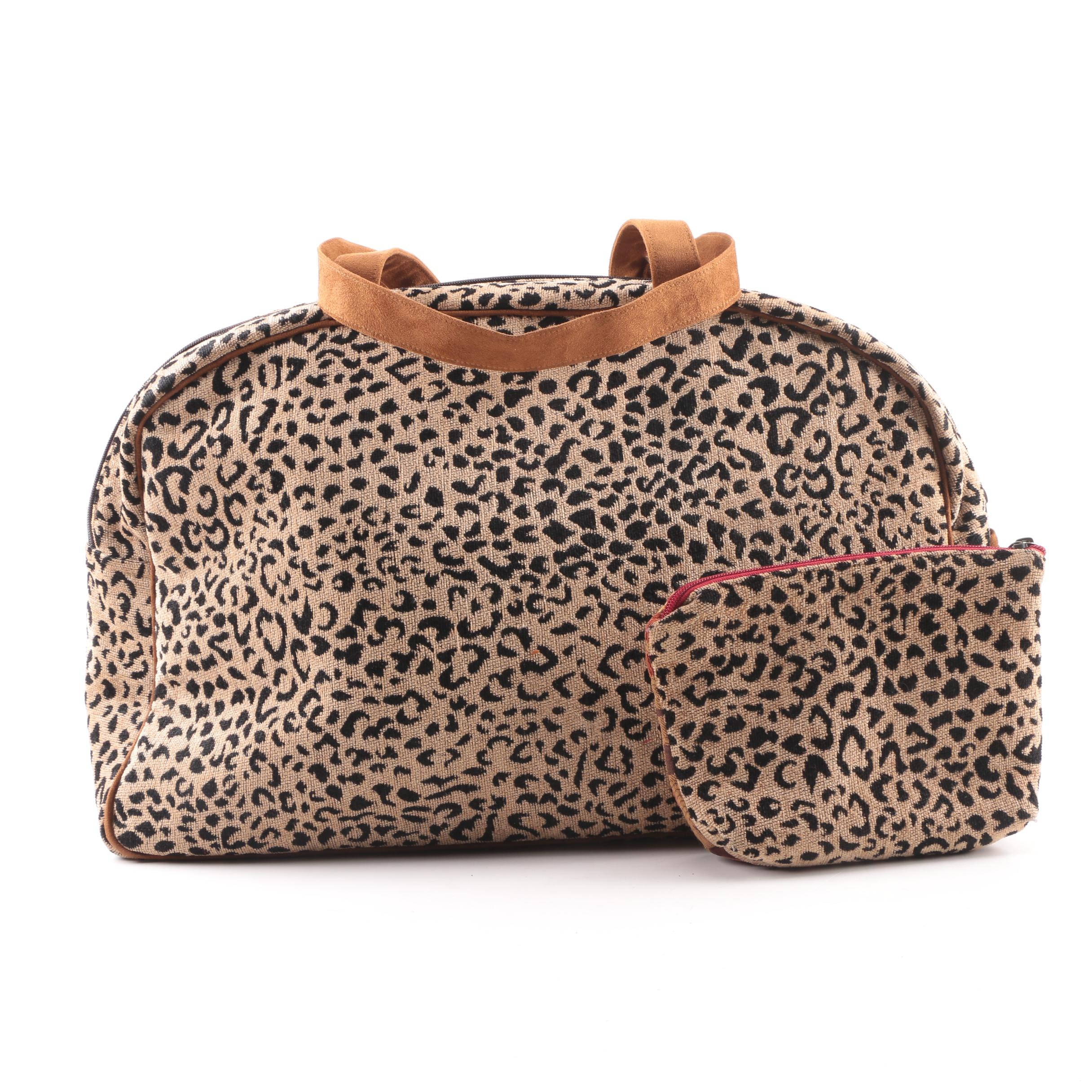 Atenti Beige and Black Leopard Print Weekender Bag with Matching Pouch
