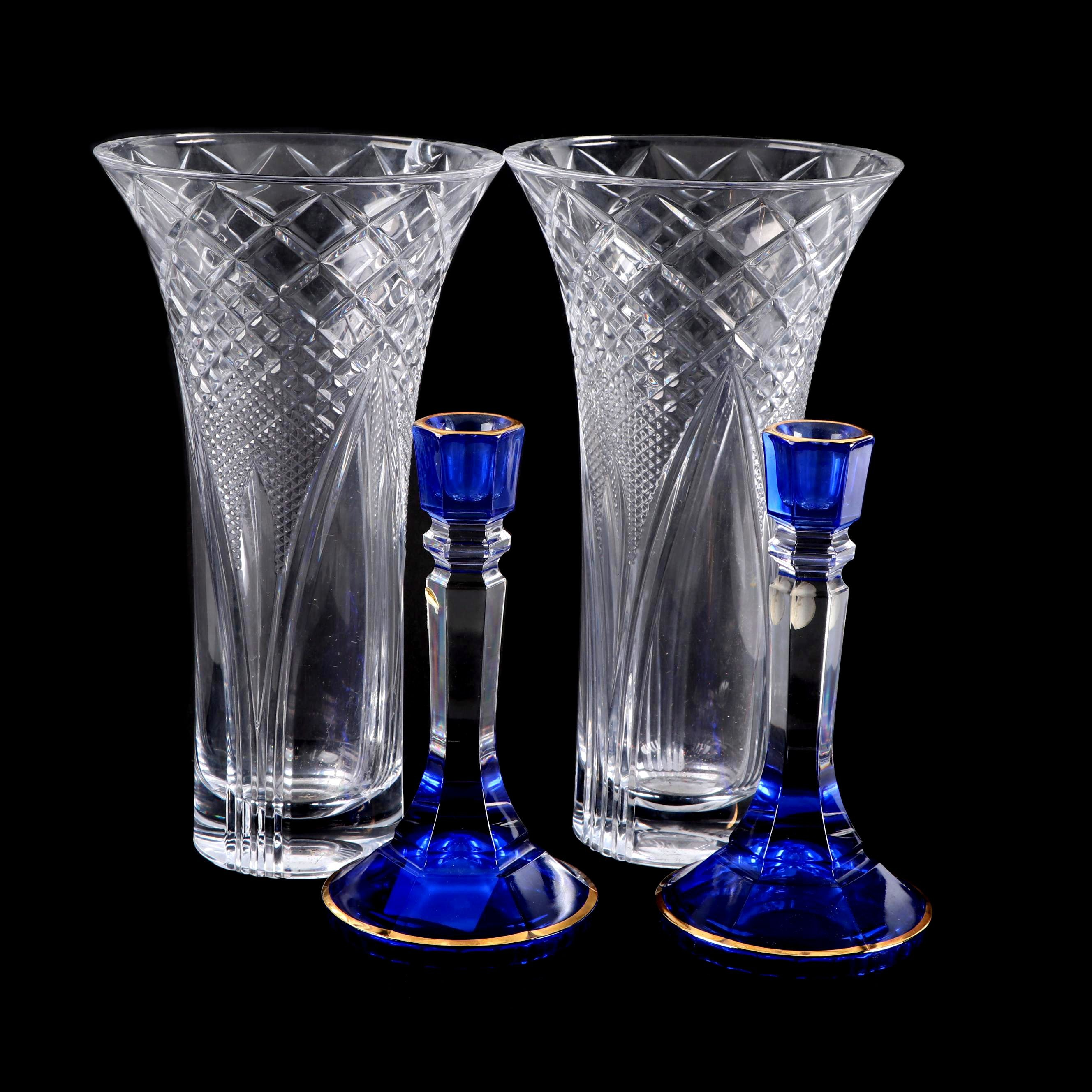 Cobalt Lead Crystal Candlesticks and Cut Glass Vases