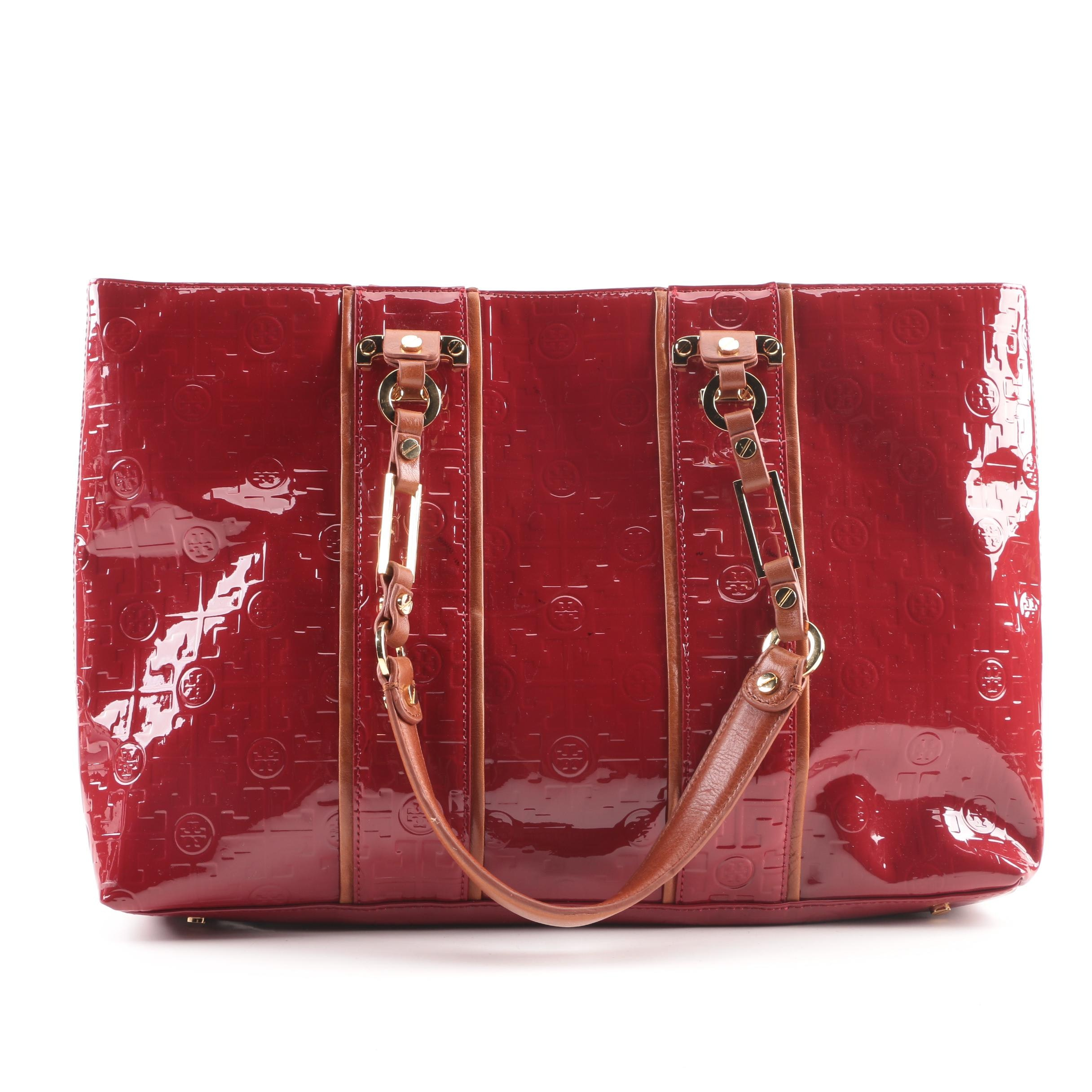 Tory Burch Signature Red Patent Leather and Tan Leather Tote