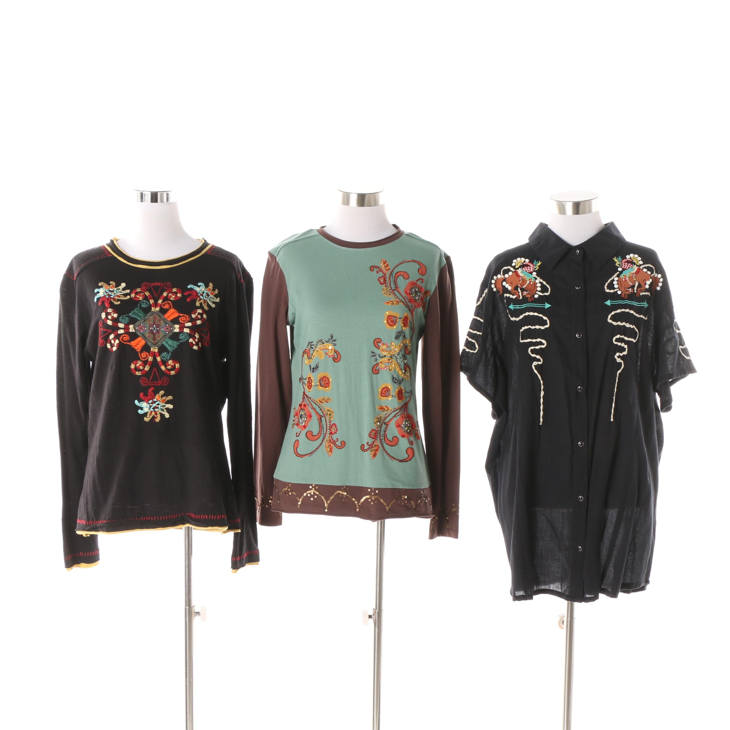 Women's Double D Ranch Western Style Embroidered Tops