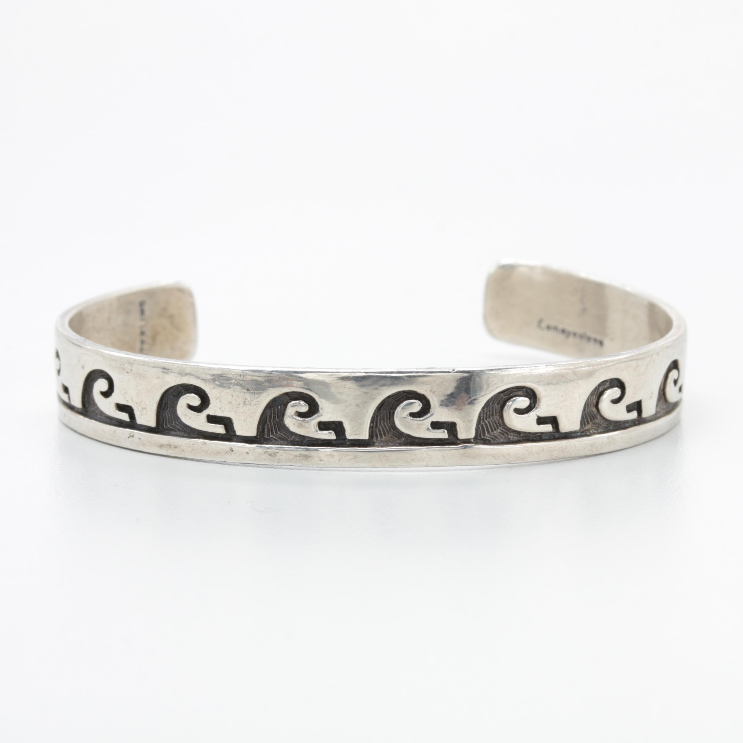 Lomayestewa Hopi Sterling Silver Overlay Cuff Bracelet