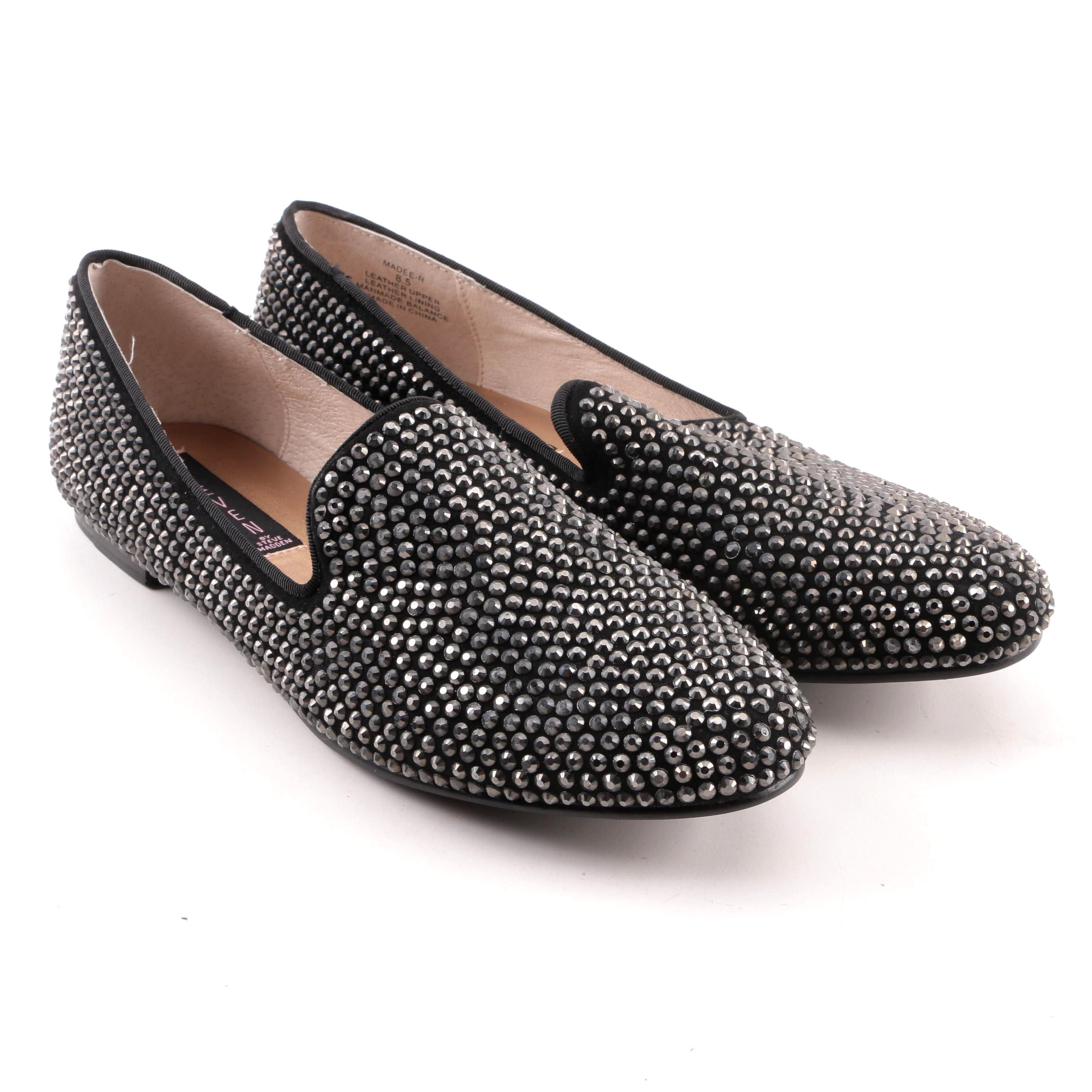 Women's STEVEN by Steve Madden Black Suede Studded Loafers