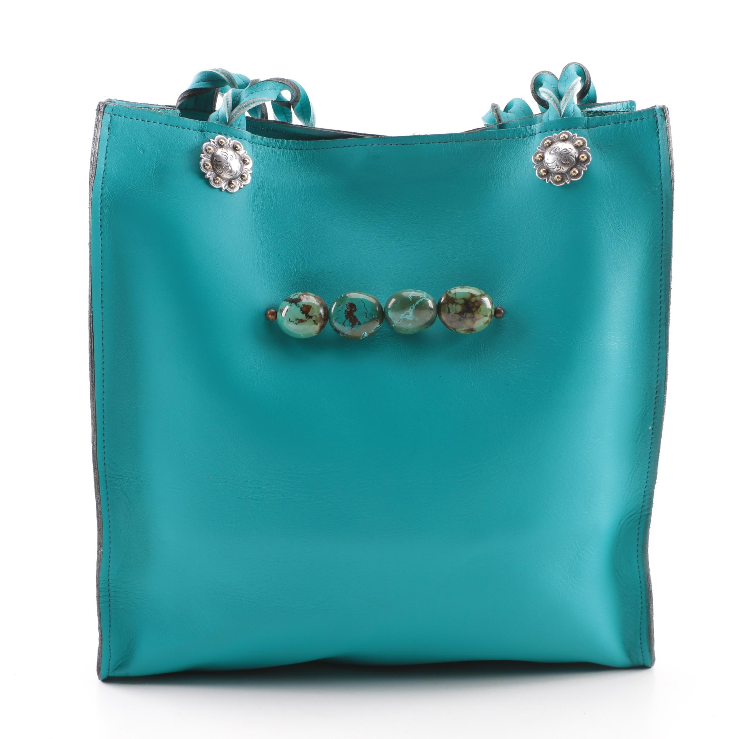 Paige Wallace Turquoise Leather Tote with Tumbled Turquoise Stone Bead Accents