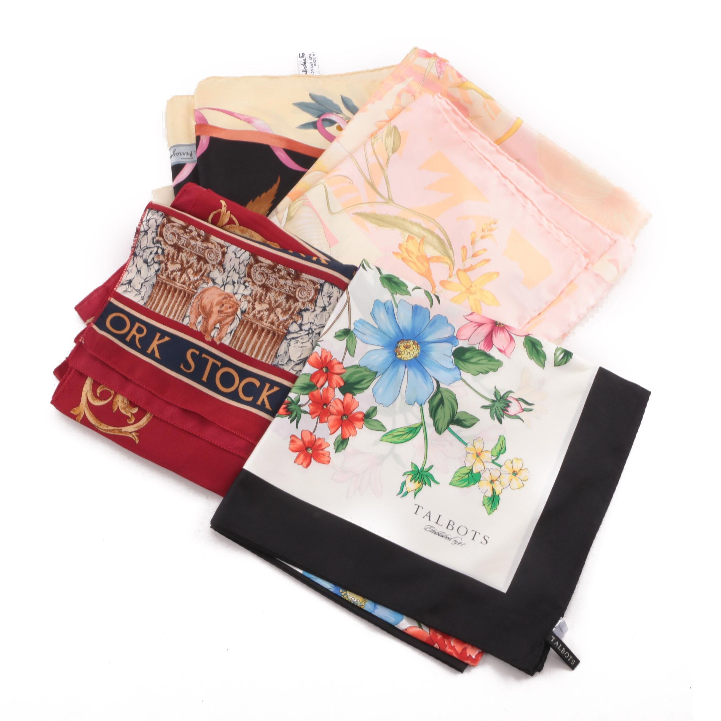 Salvatore Ferragamo, Talbots and Voslo Designs Silk Scarves