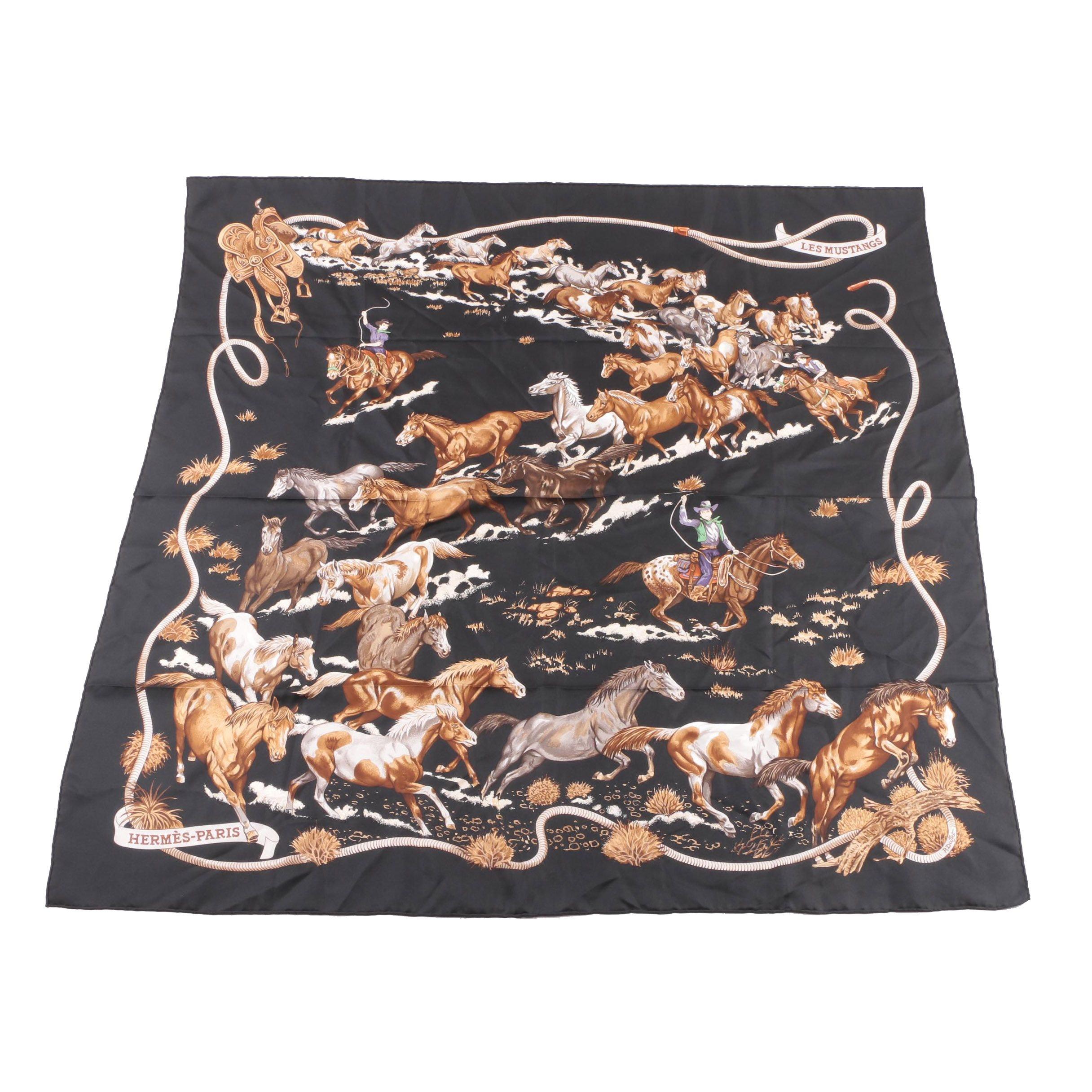 "Hermès of Paris ""Les Mustang"" Silk Scarf"