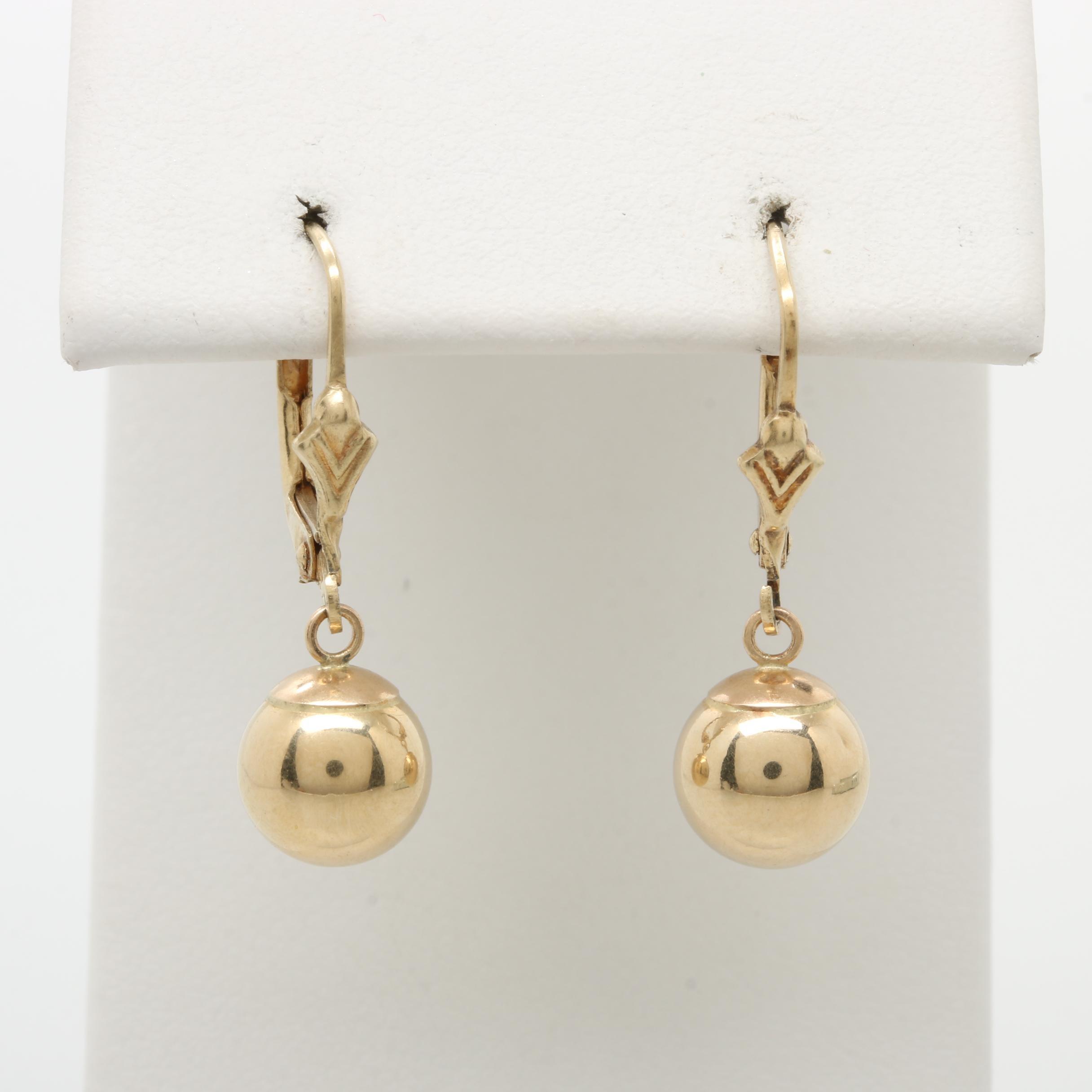 14K Yellow Gold Spherical Drop Earrings