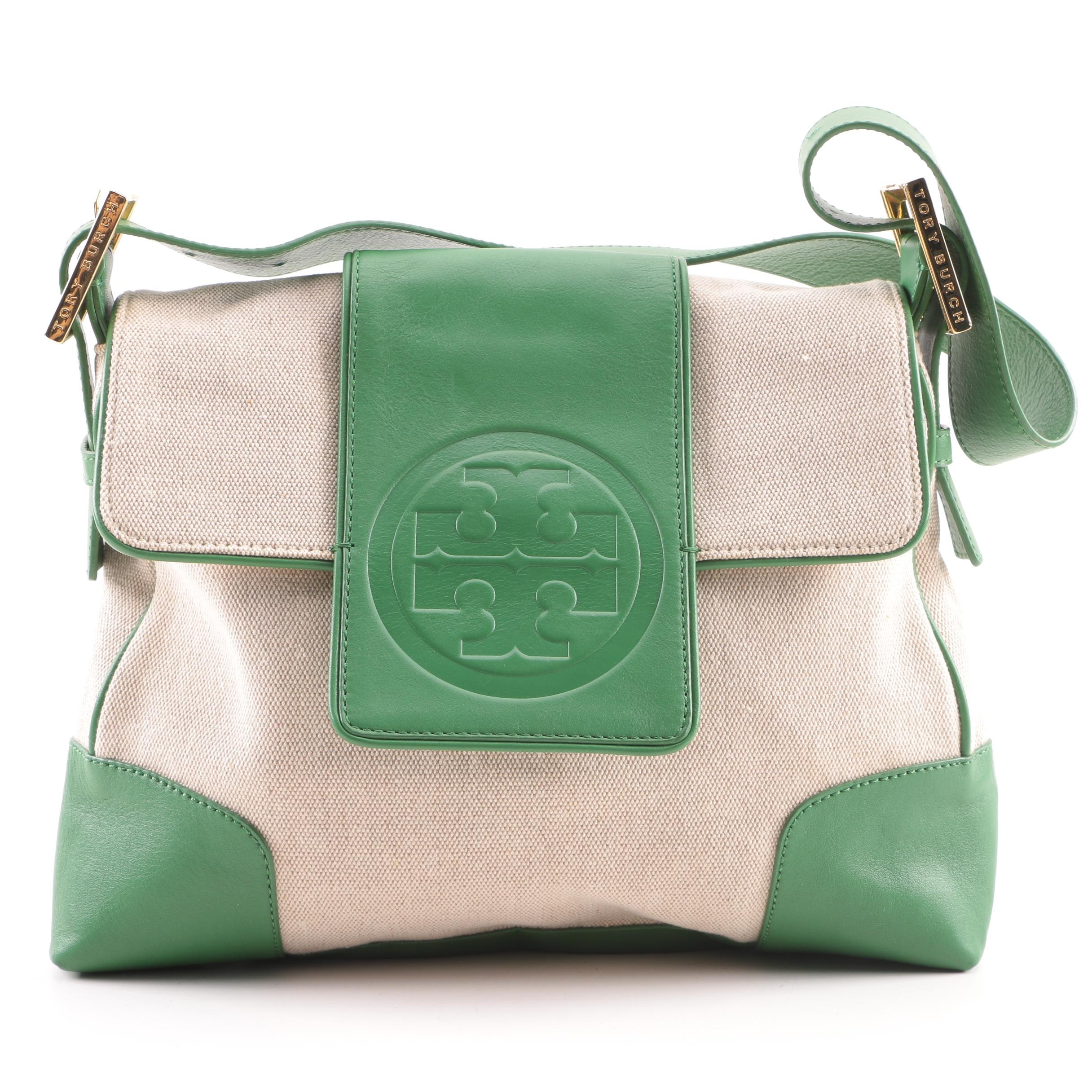Tory Burch Canvas and Leather Shoulder Bag