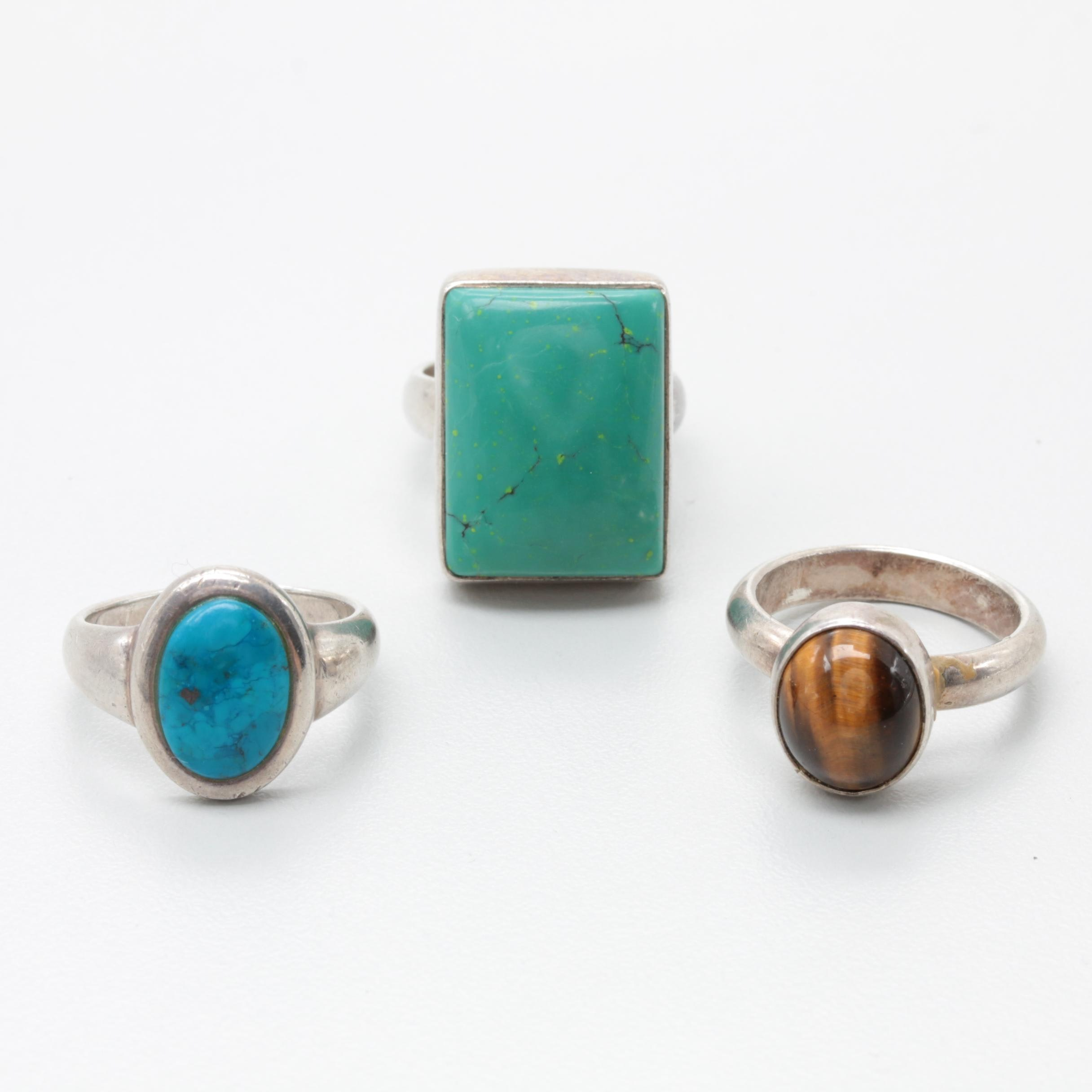 Sterling Silver Gemstone Rings Including Arya Green Turquoise Ring
