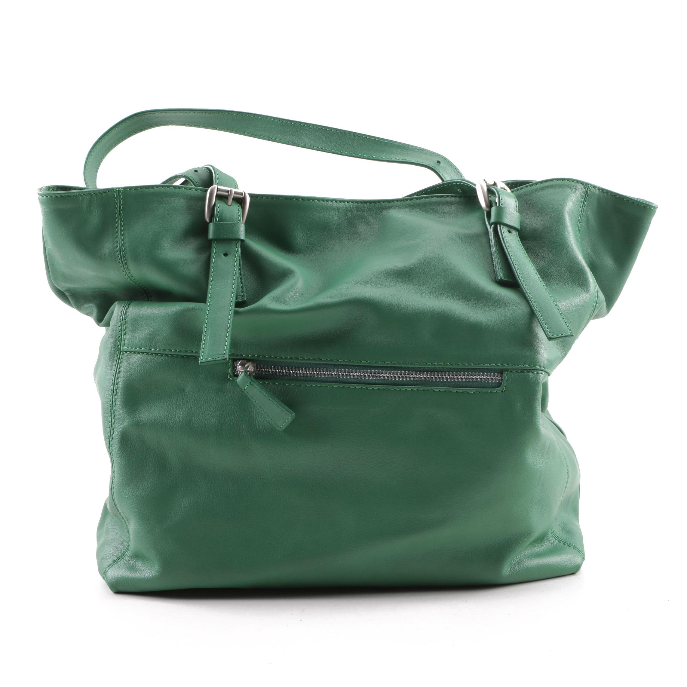 Garnet Hill Green Leather Tote Bag