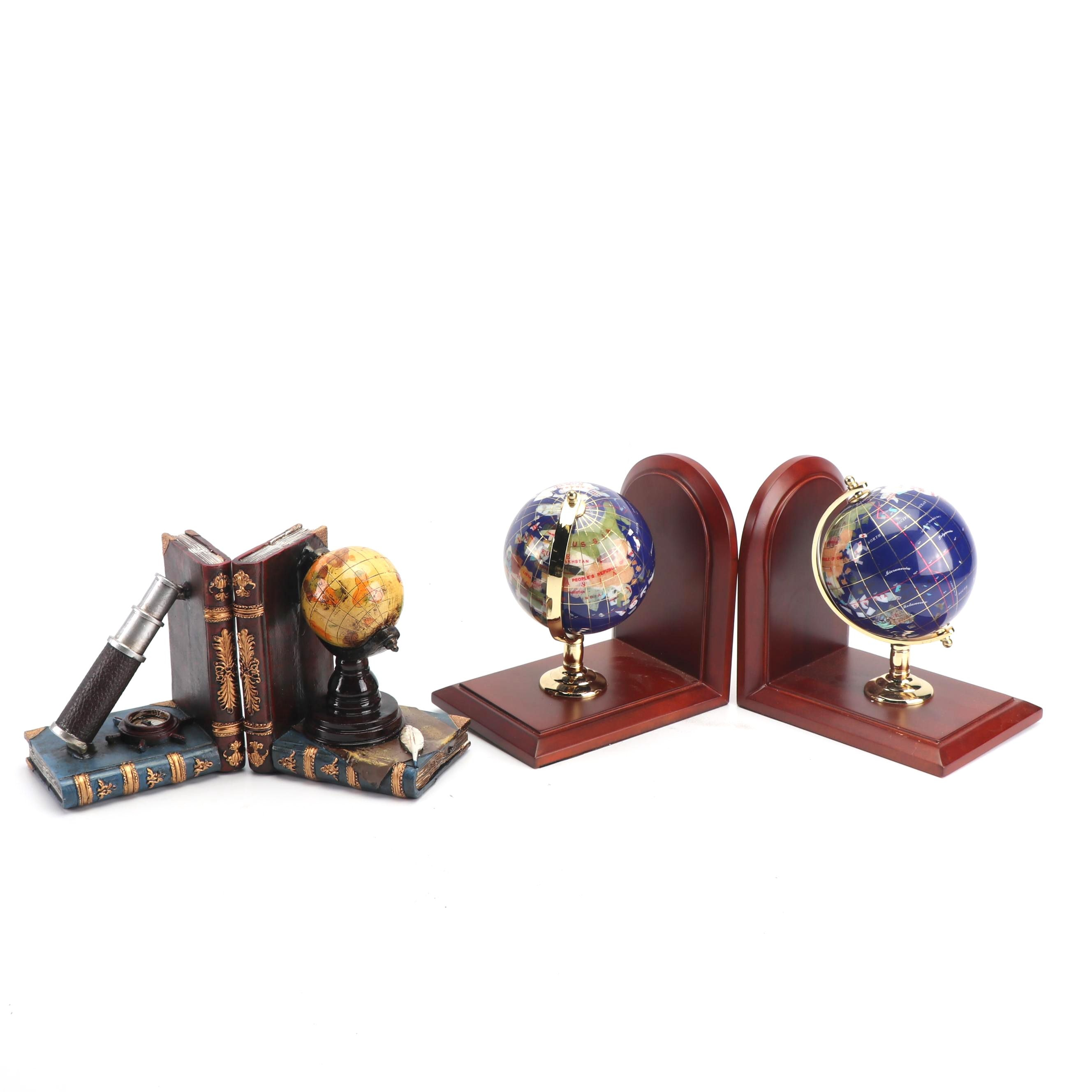 Gemstone Globe Bookends with Cast Resin Explorer Motif Bookends