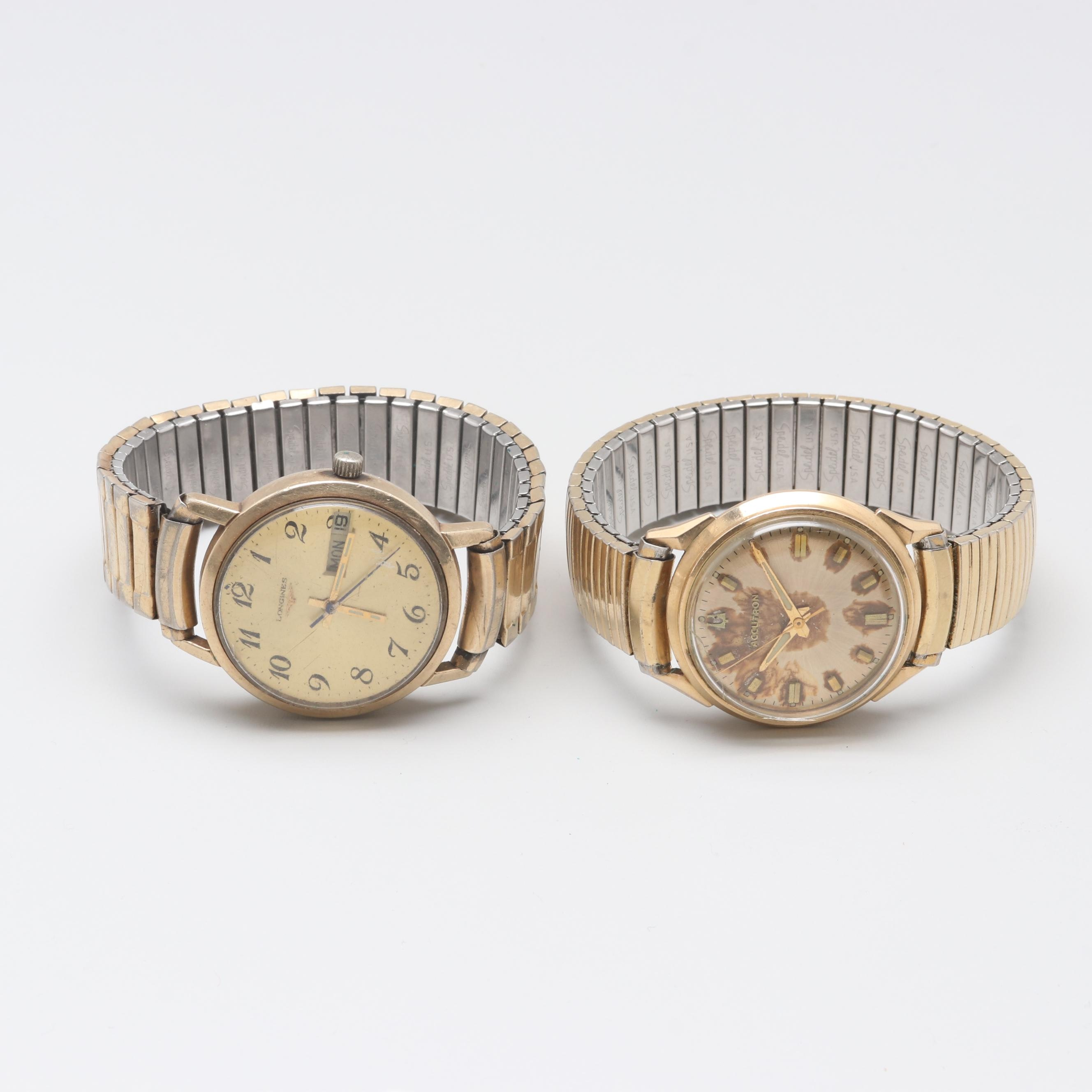 Bulova and Longines 10K Gold Filled Wristwatches With Expansion Bracelets