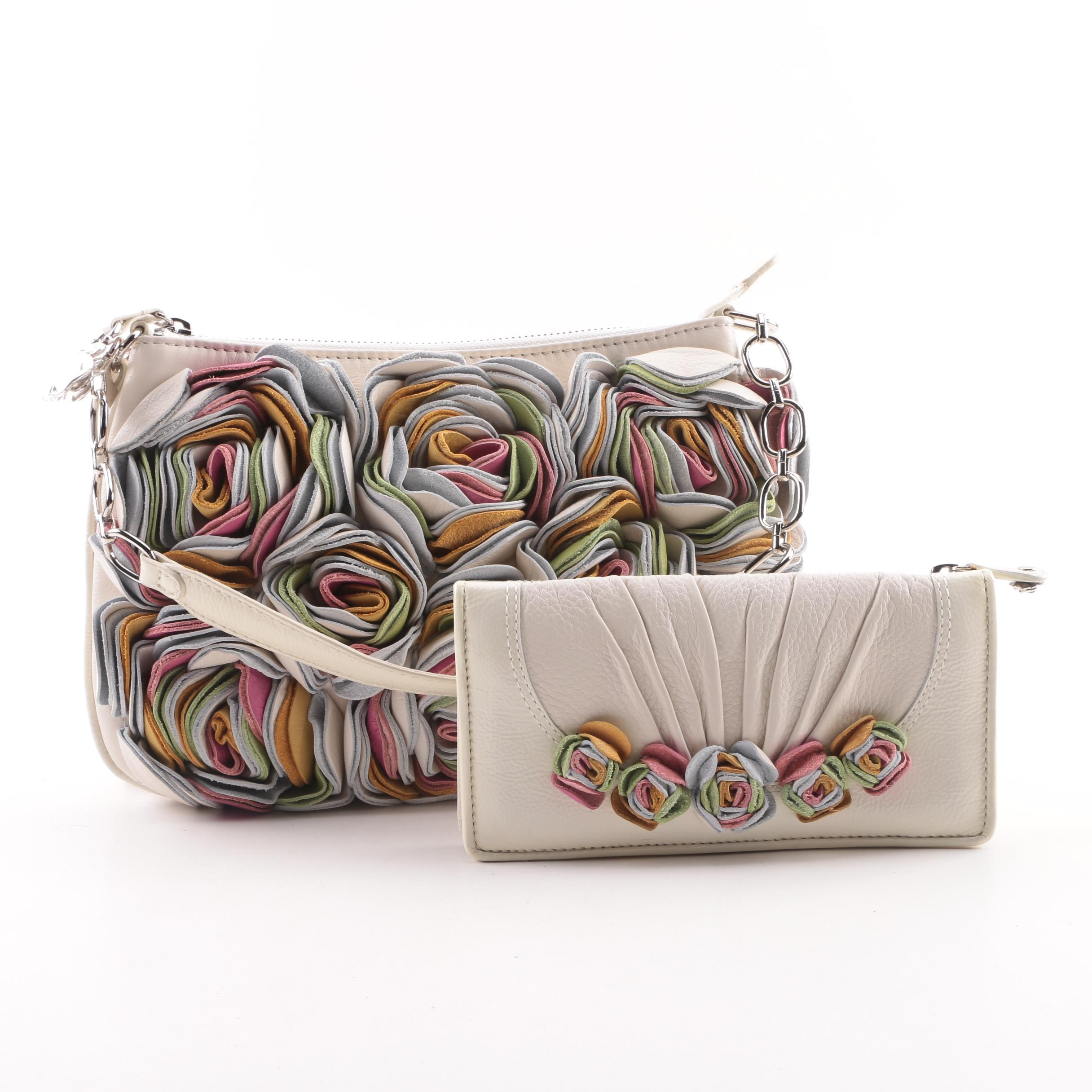 Brighton Multicolor Floral Cream Leather Handbag and Wallet