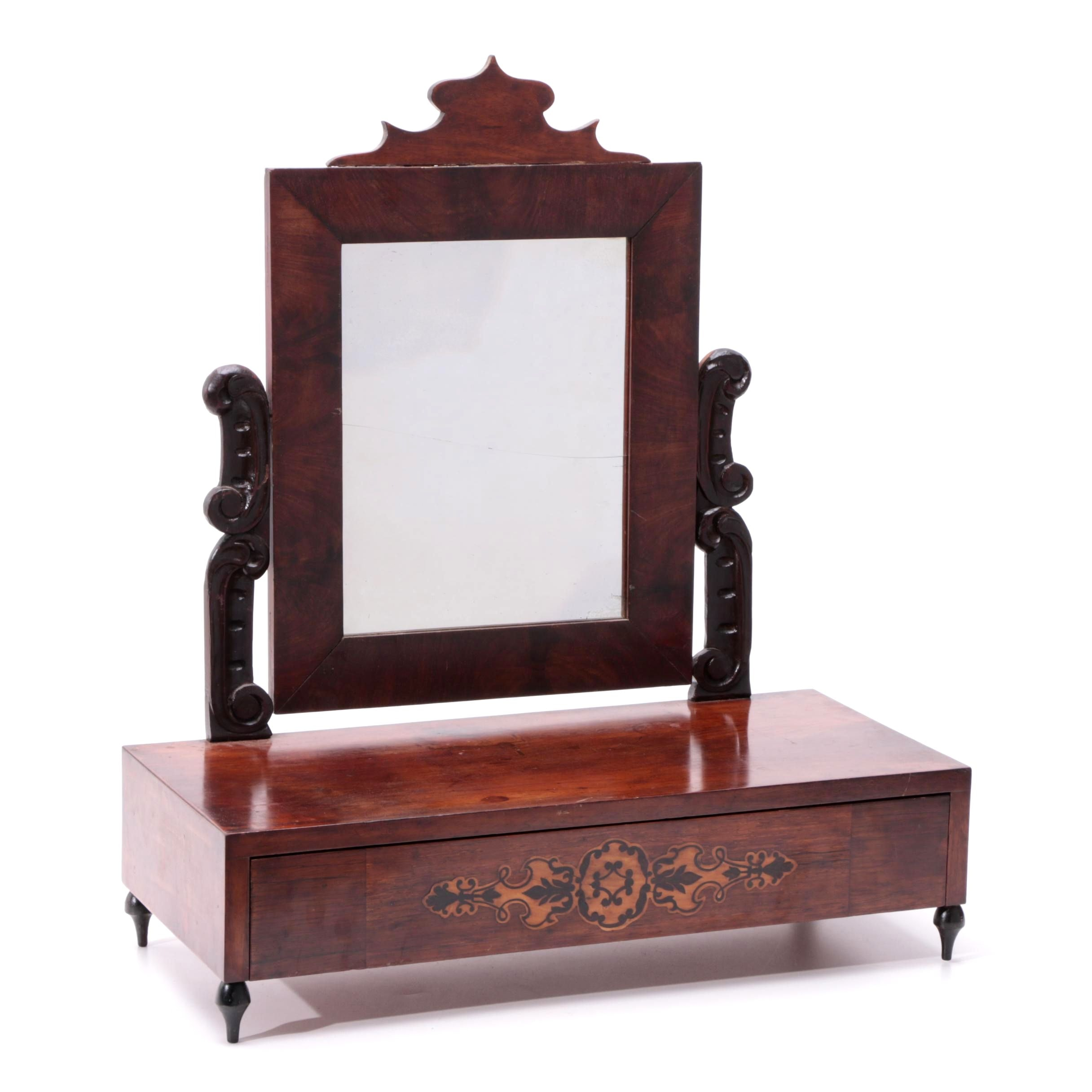 Mahogany and Marquetry Shaving Stand, Third Quarter 19th Century