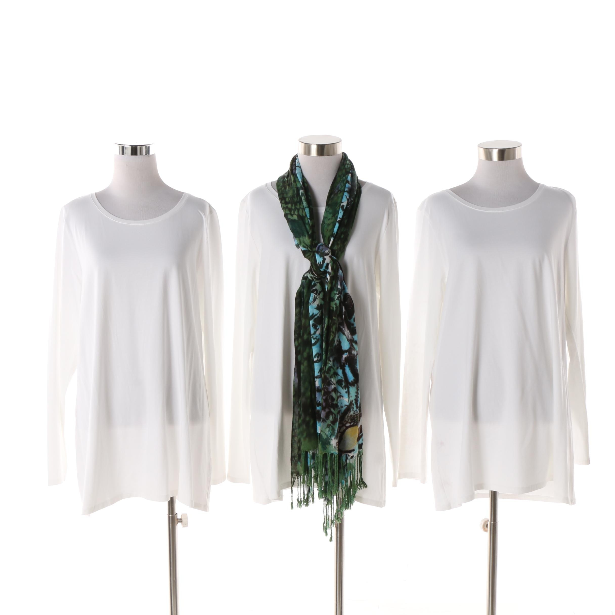 J. Jill White Stretch Cotton Tunic Tees and From The Heart Scarf