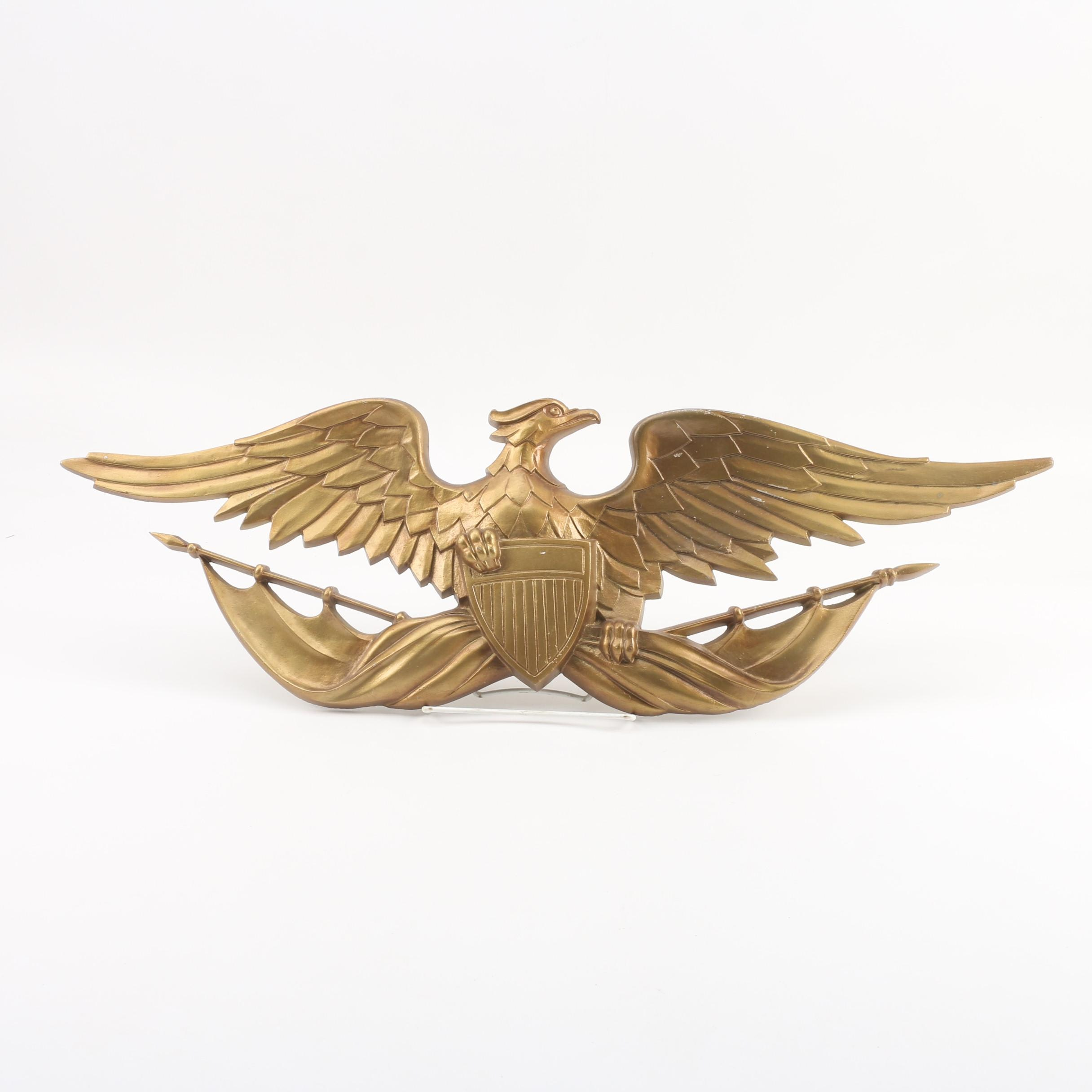 Sexton Cast Metal Eagle with Shield and Flags Wall Plaque