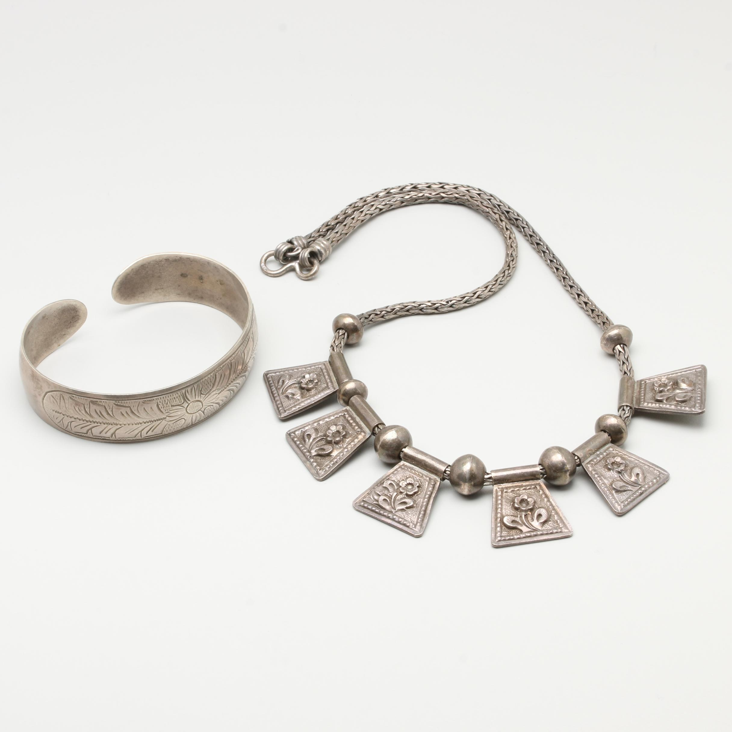Sterling Silver Necklace and 800 Silver Cuff Style Bracelet