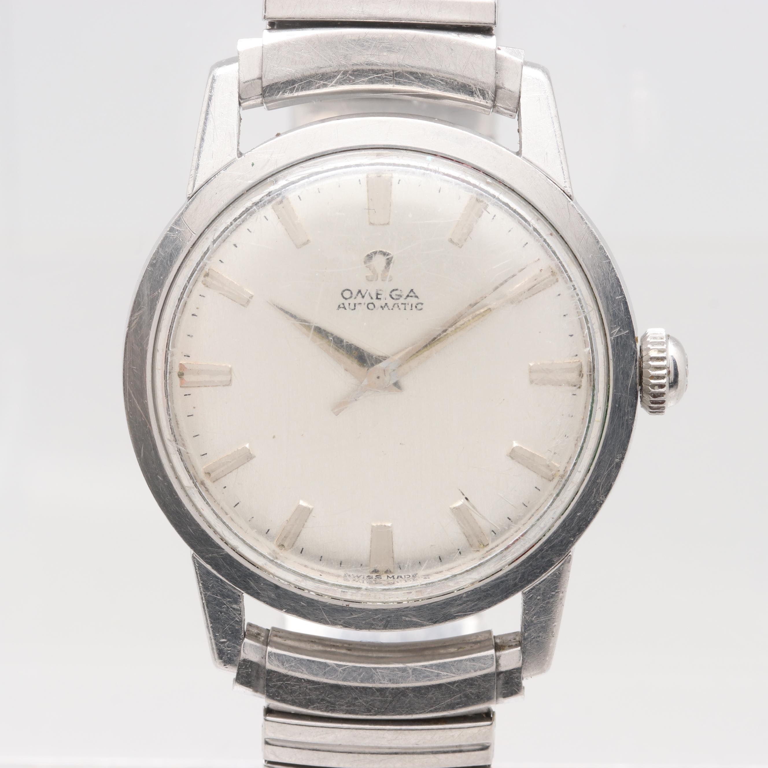 Omega Stainless Steel Silver Tone Dial Expansion Wristwatch