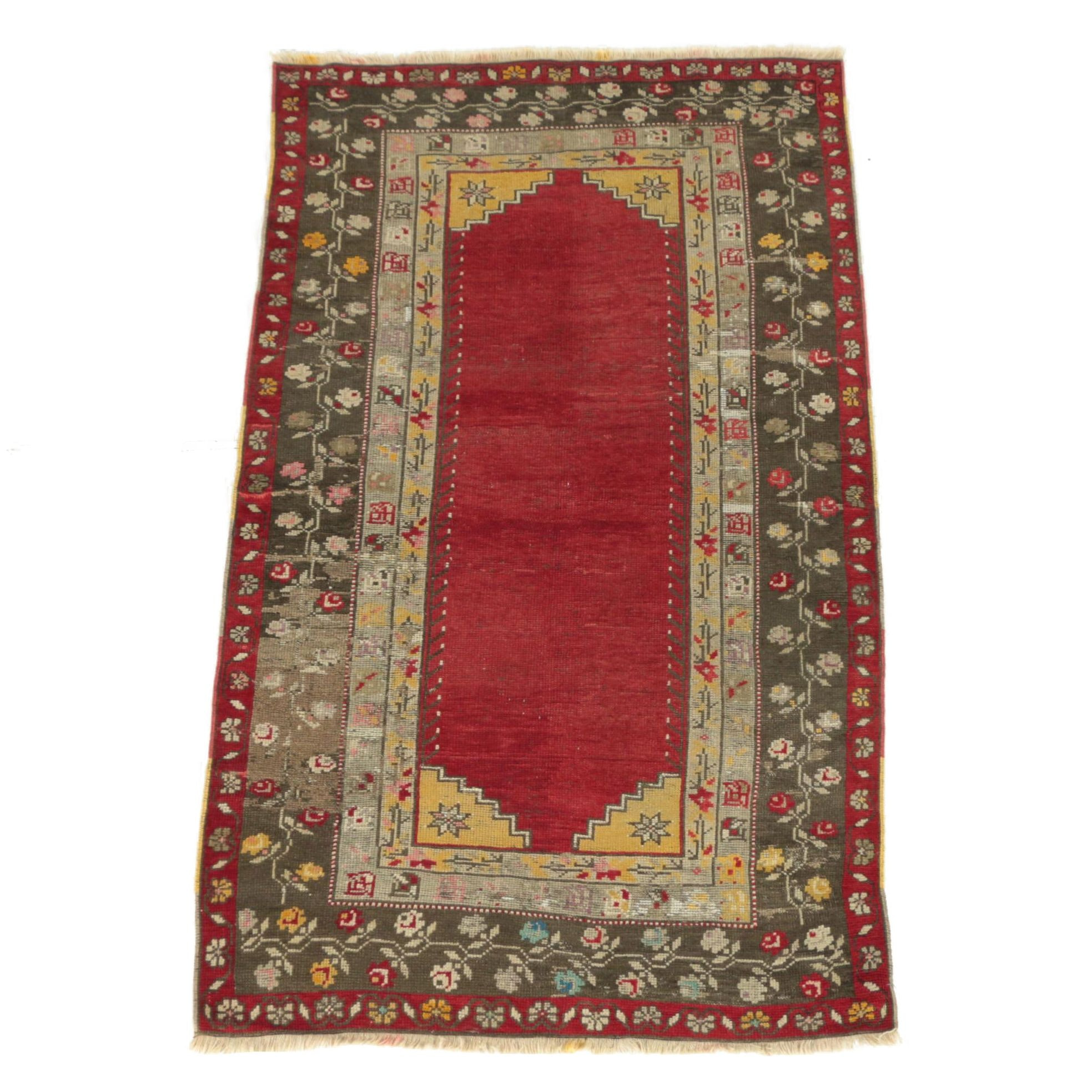Vintage Hand-Knotted Turkish Çal Wool Area Rug