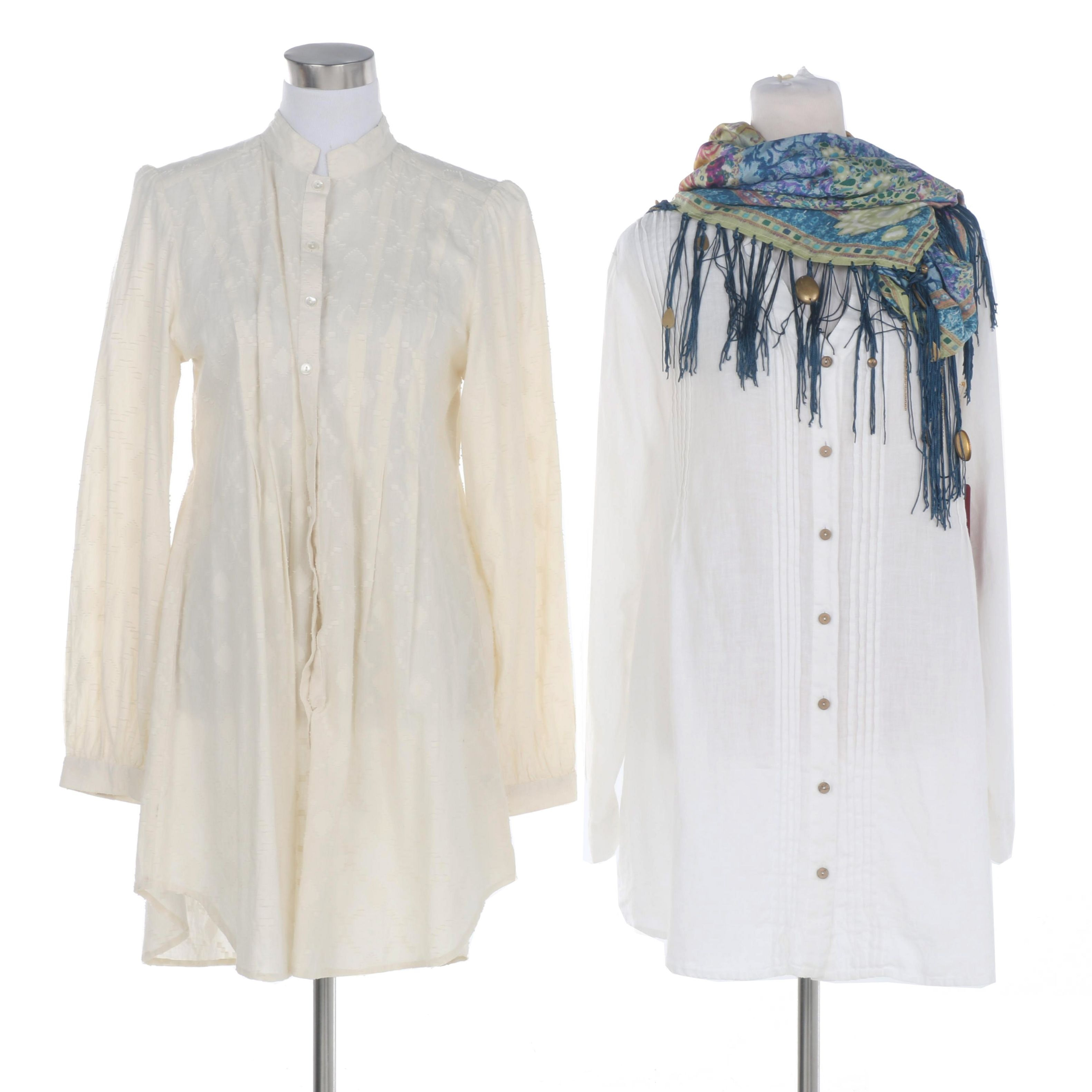 Yuvita and Double D Ranch Tunic Blouses with Fringed Scarf