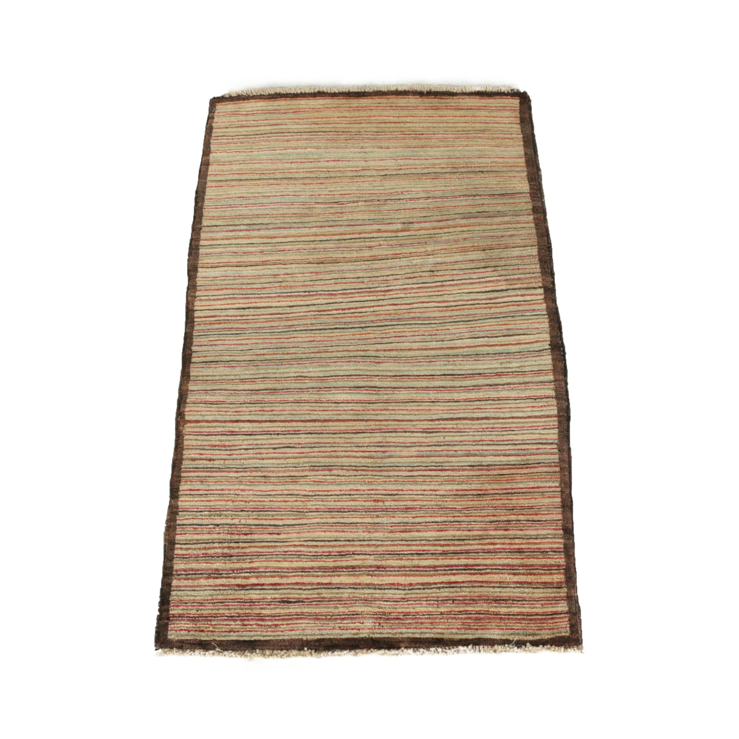 Hand-Knotted Afghani Striped Wool Accent Rug