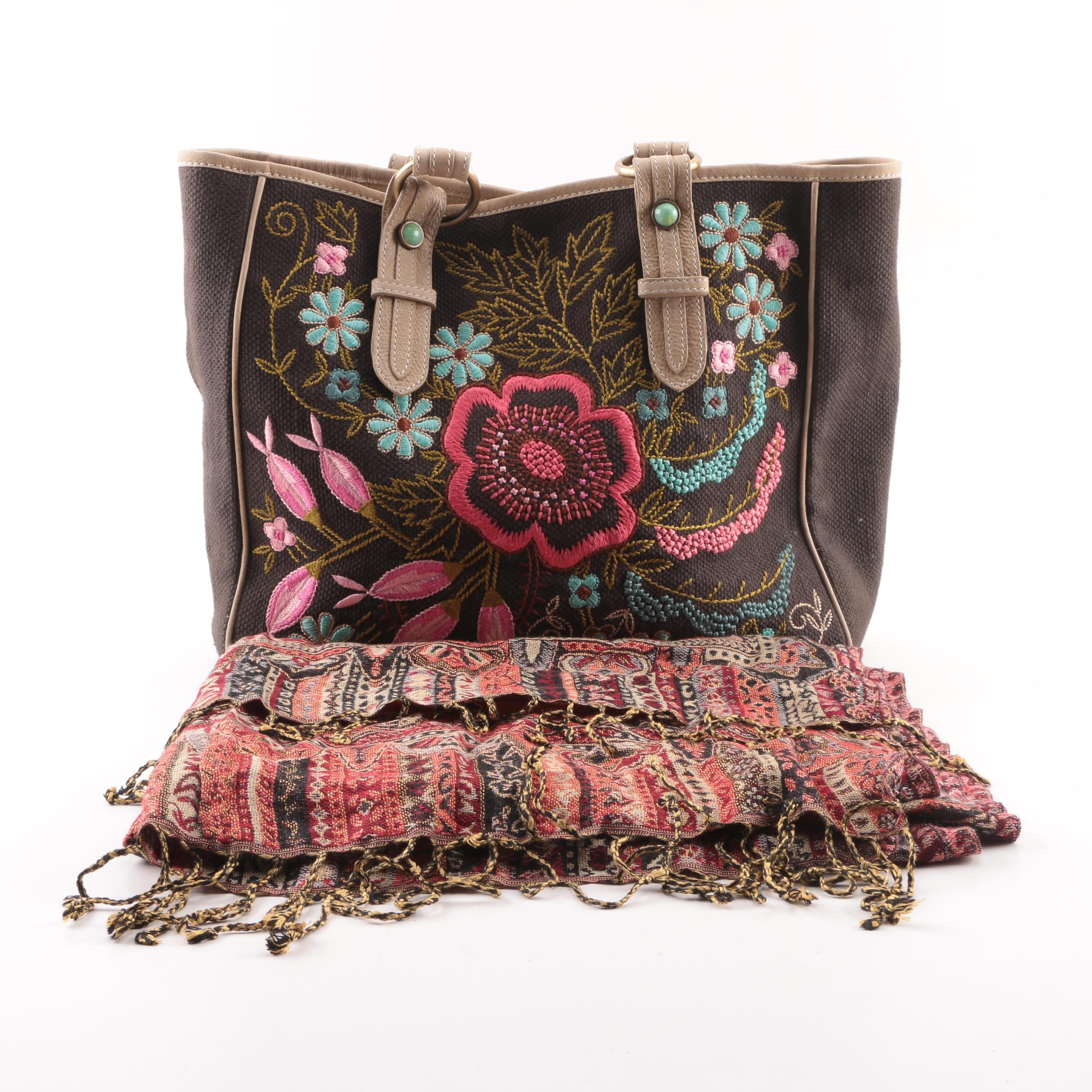 Tasha Polizzi Collection Embroidered Tote and Tapestry Wrap