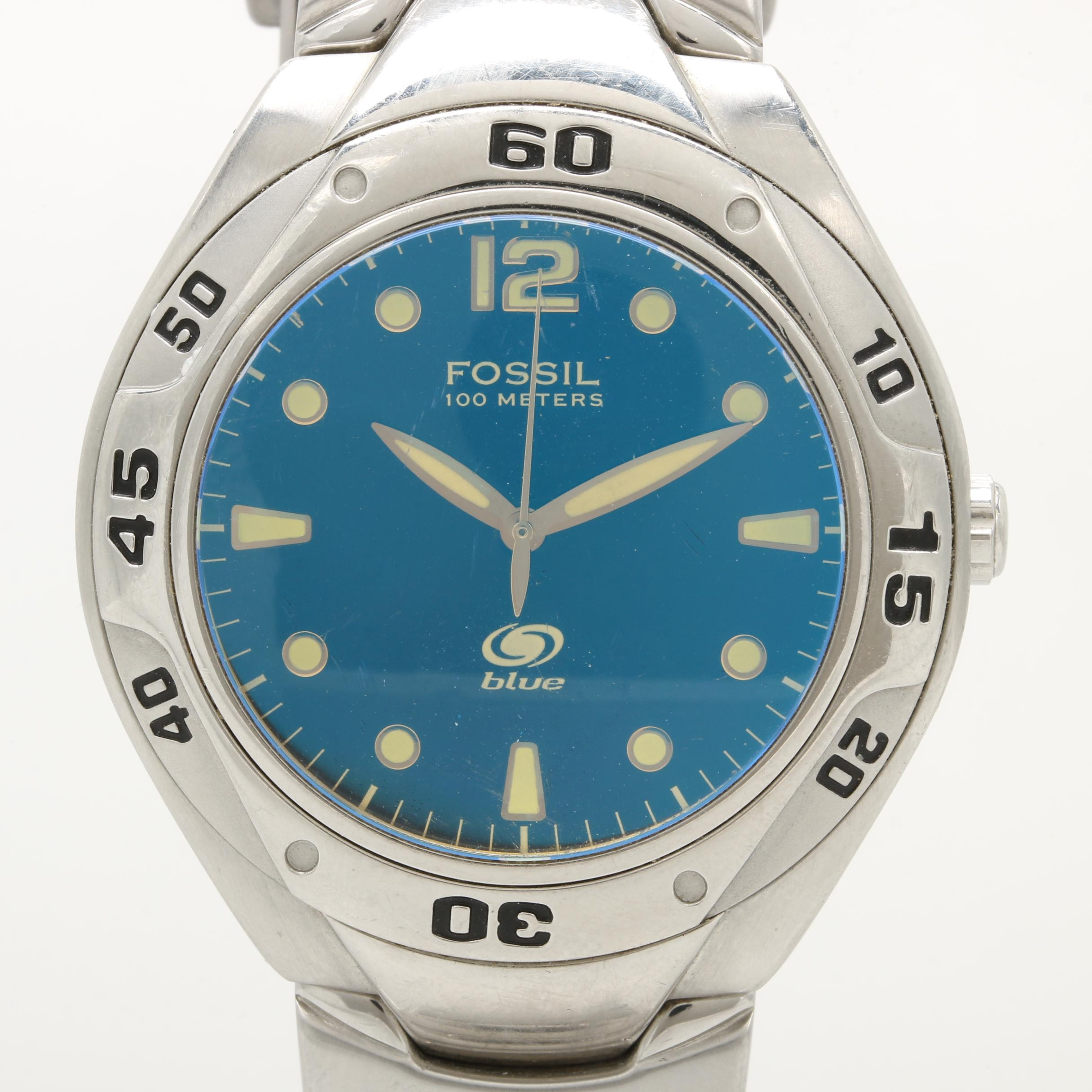 Fossil Stainless Steel Wristwatch with Blue Dial