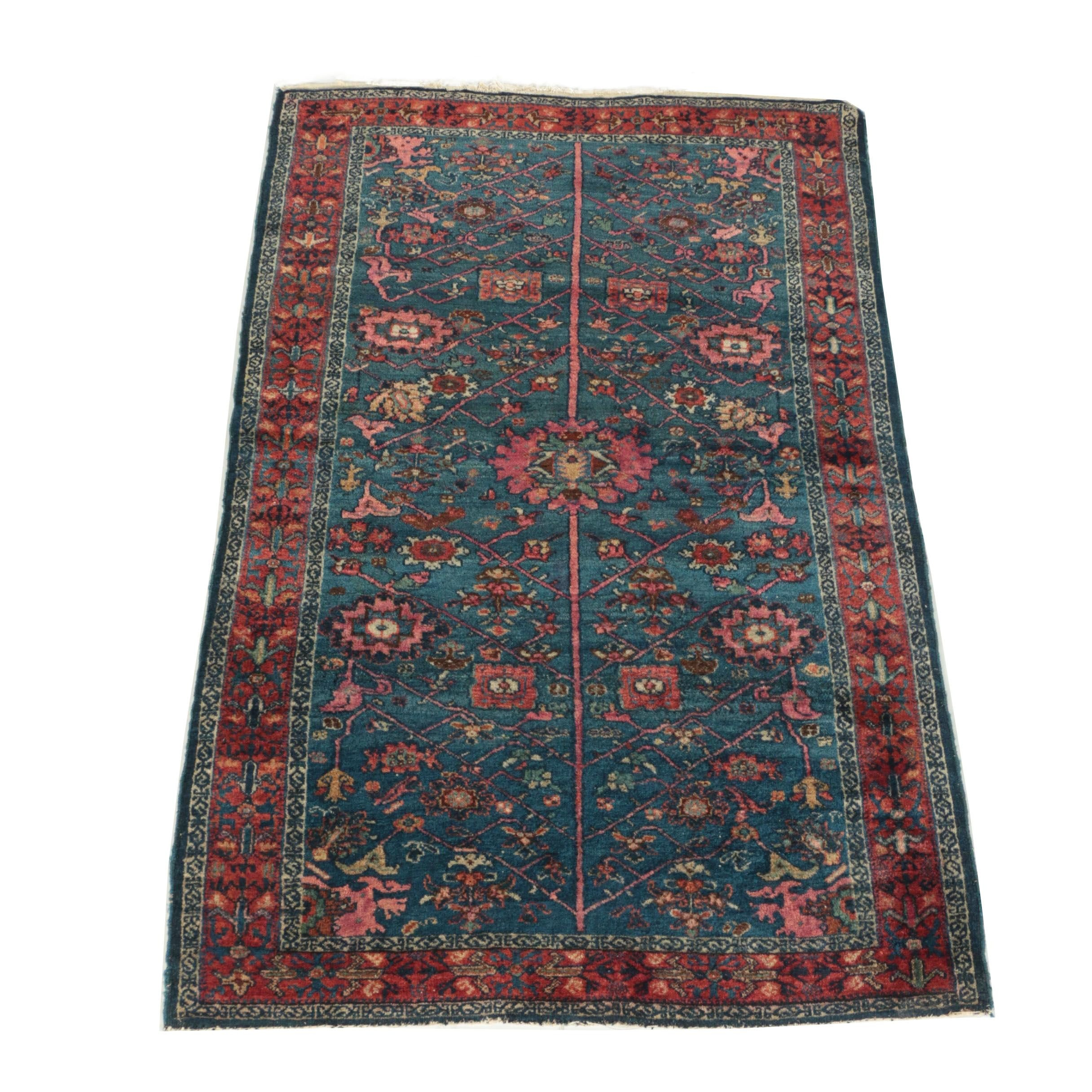 Semi-Antique Hand-Knotted Kurdish Wool Accent Rug