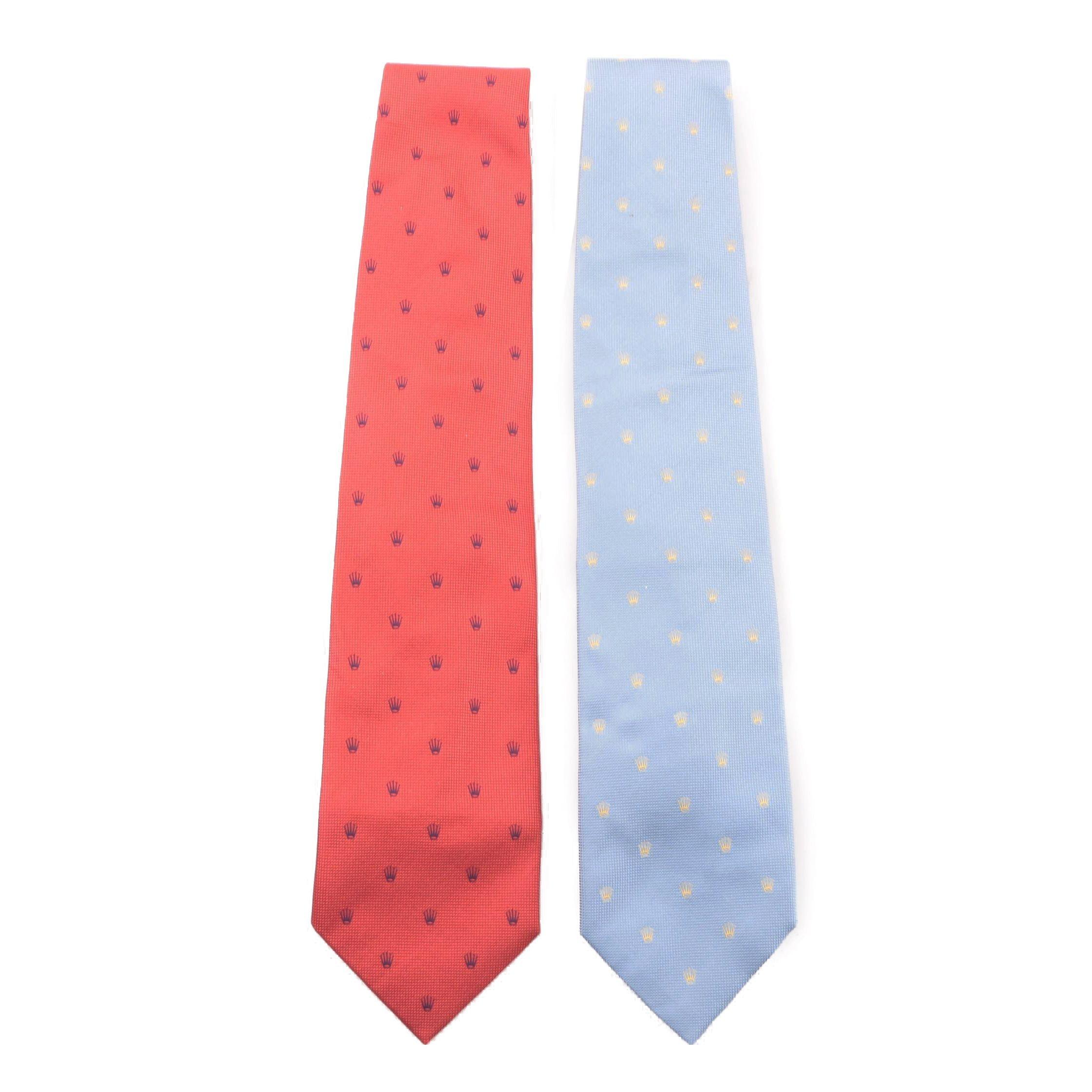 Men's Rolex Silk Neckties with Embroidered Logo