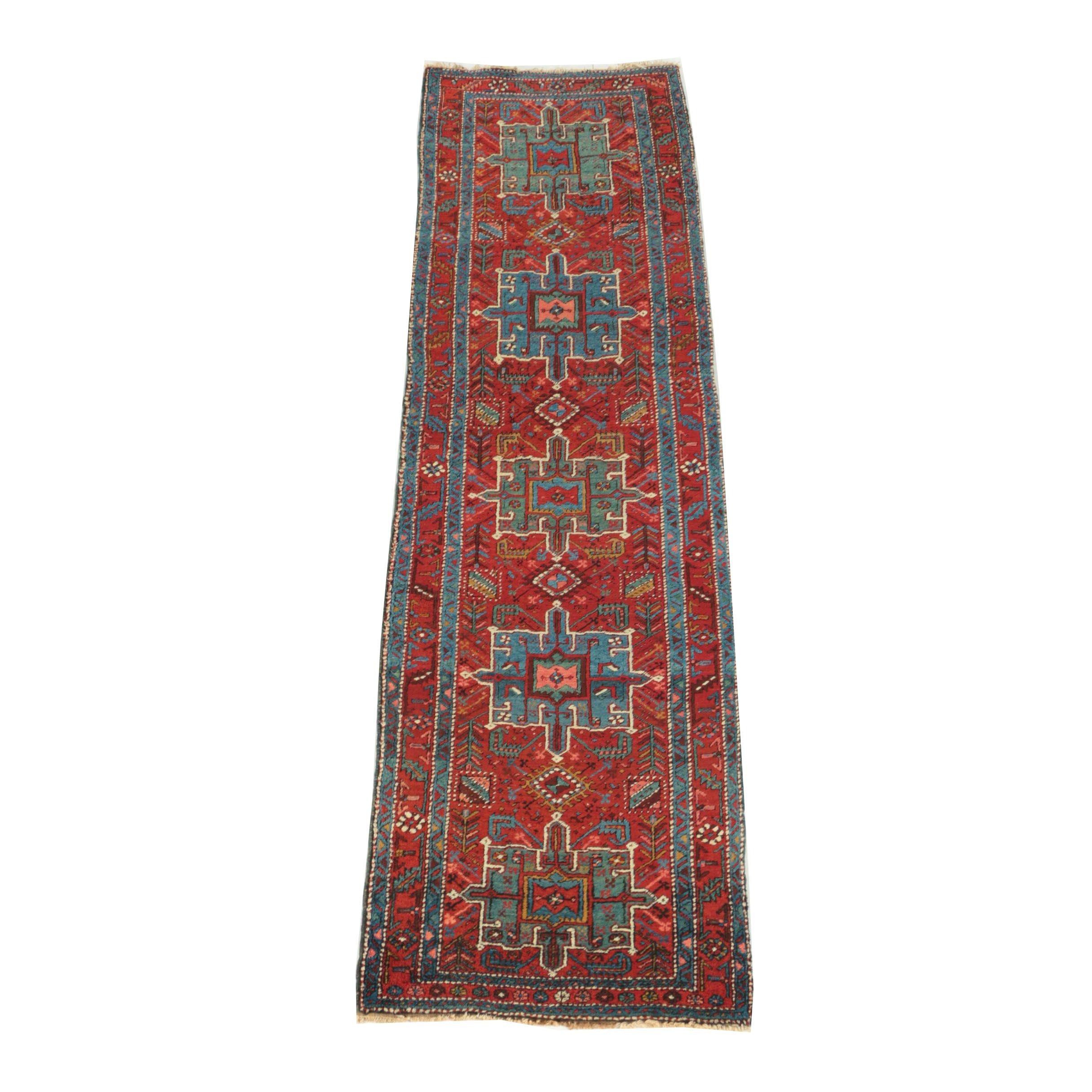 Vintage Hand-Knotted Persian Heriz Karaja Wool Carpet Runner