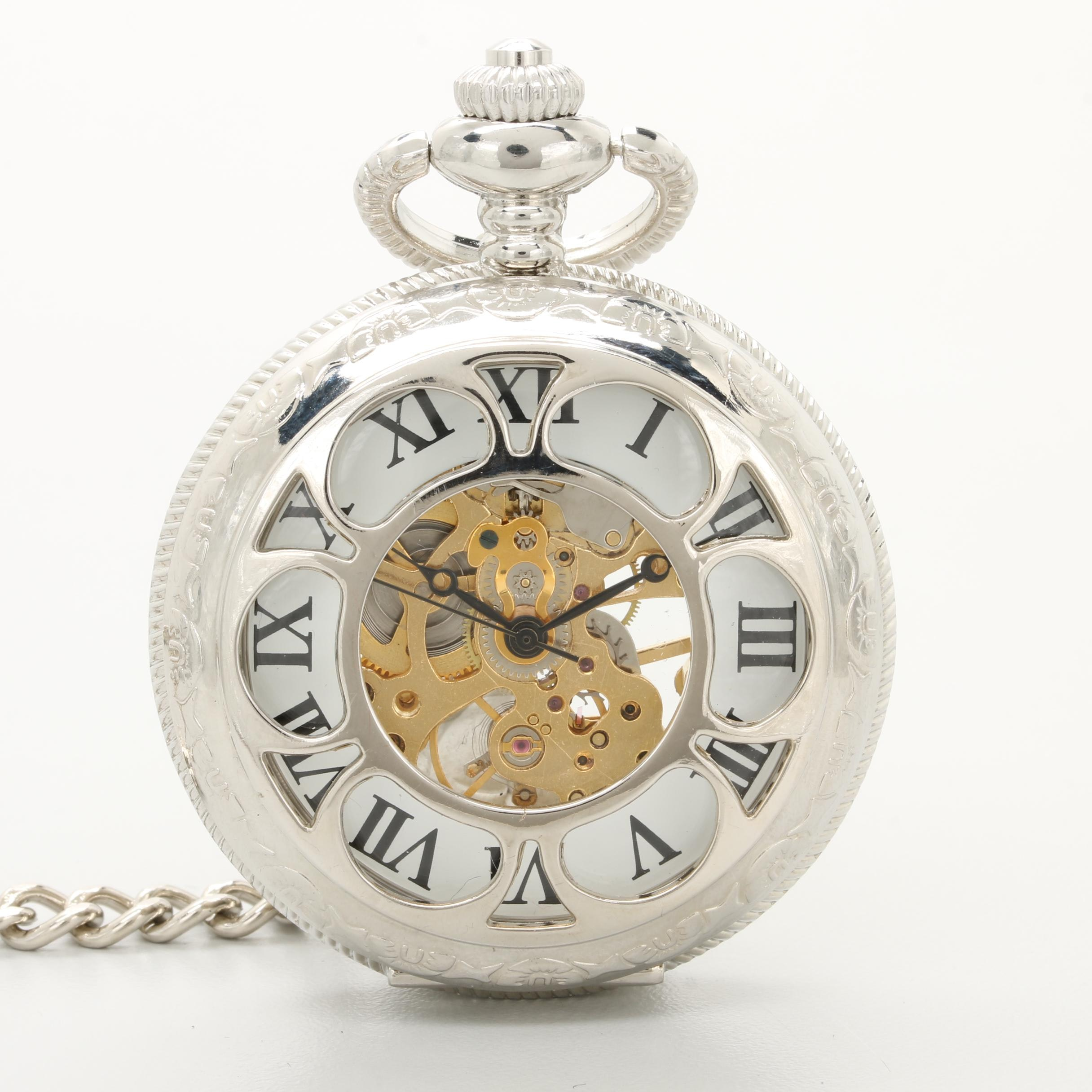 Exhibition Style Pocket Watch with Partial Skeleton Cover