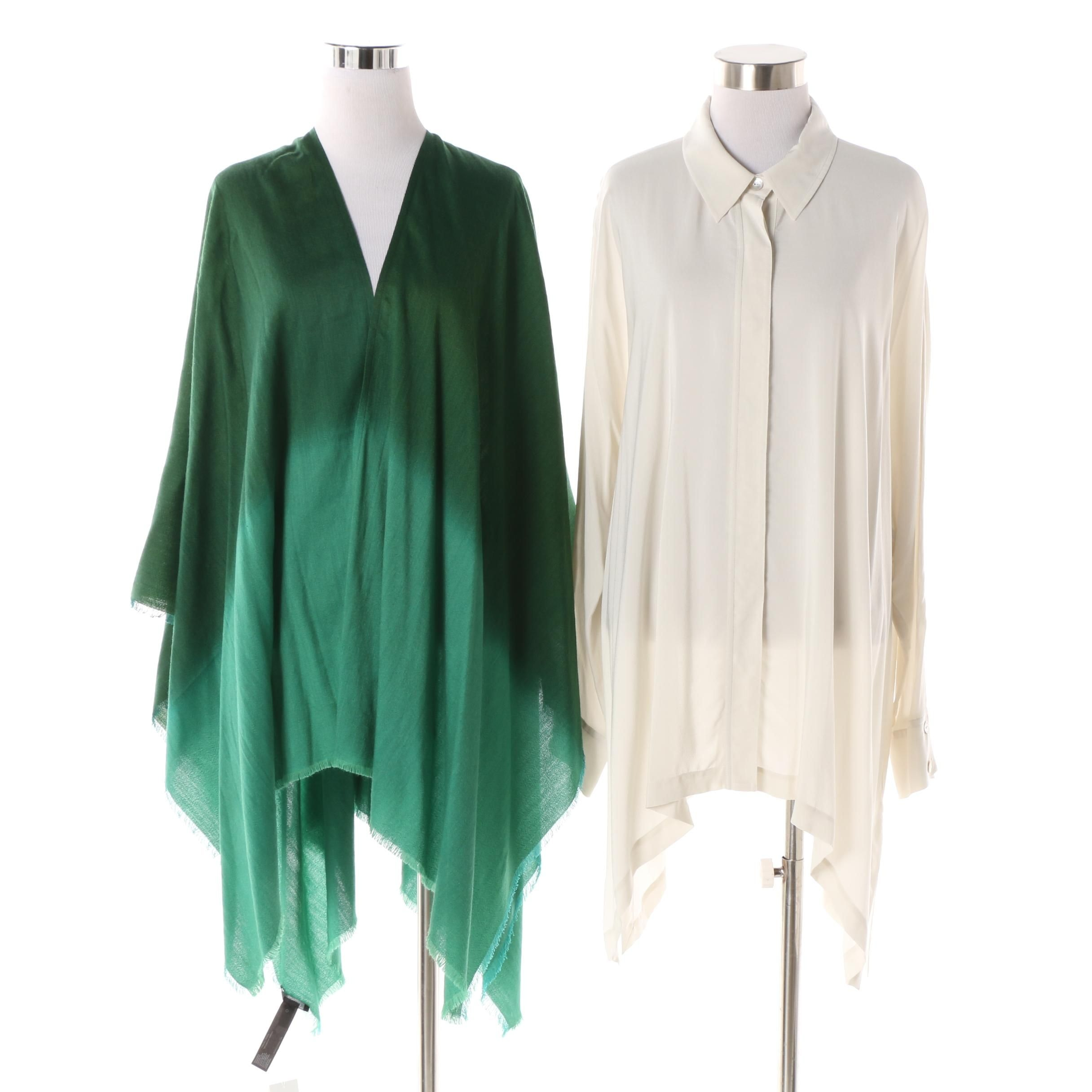 Eileen Fisher Off-White Tunic and Green Shaded Poncho