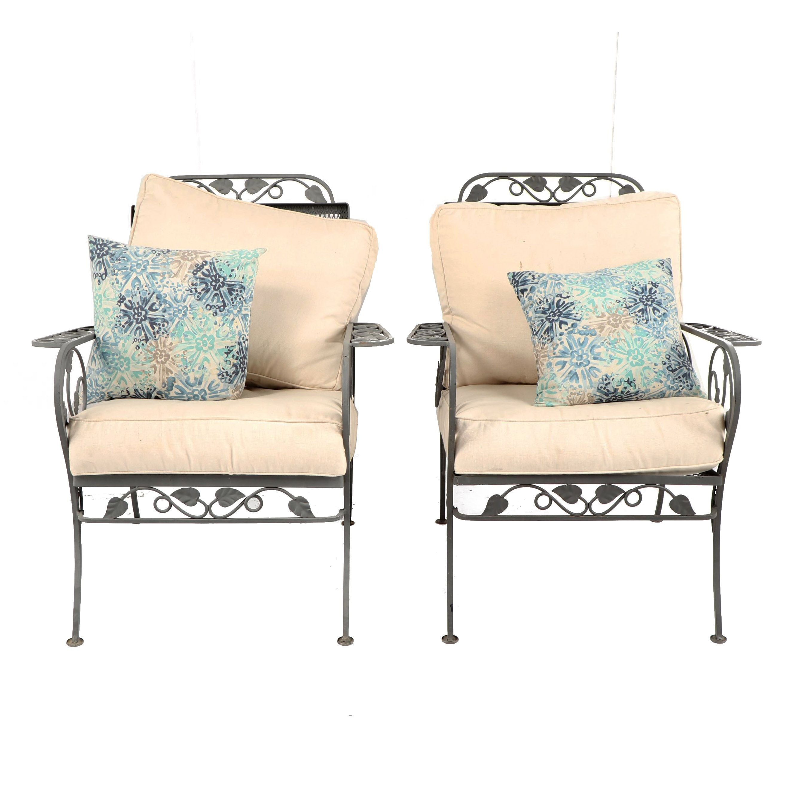 Leaf and Vine Motif Metal Patio Armchair Pair