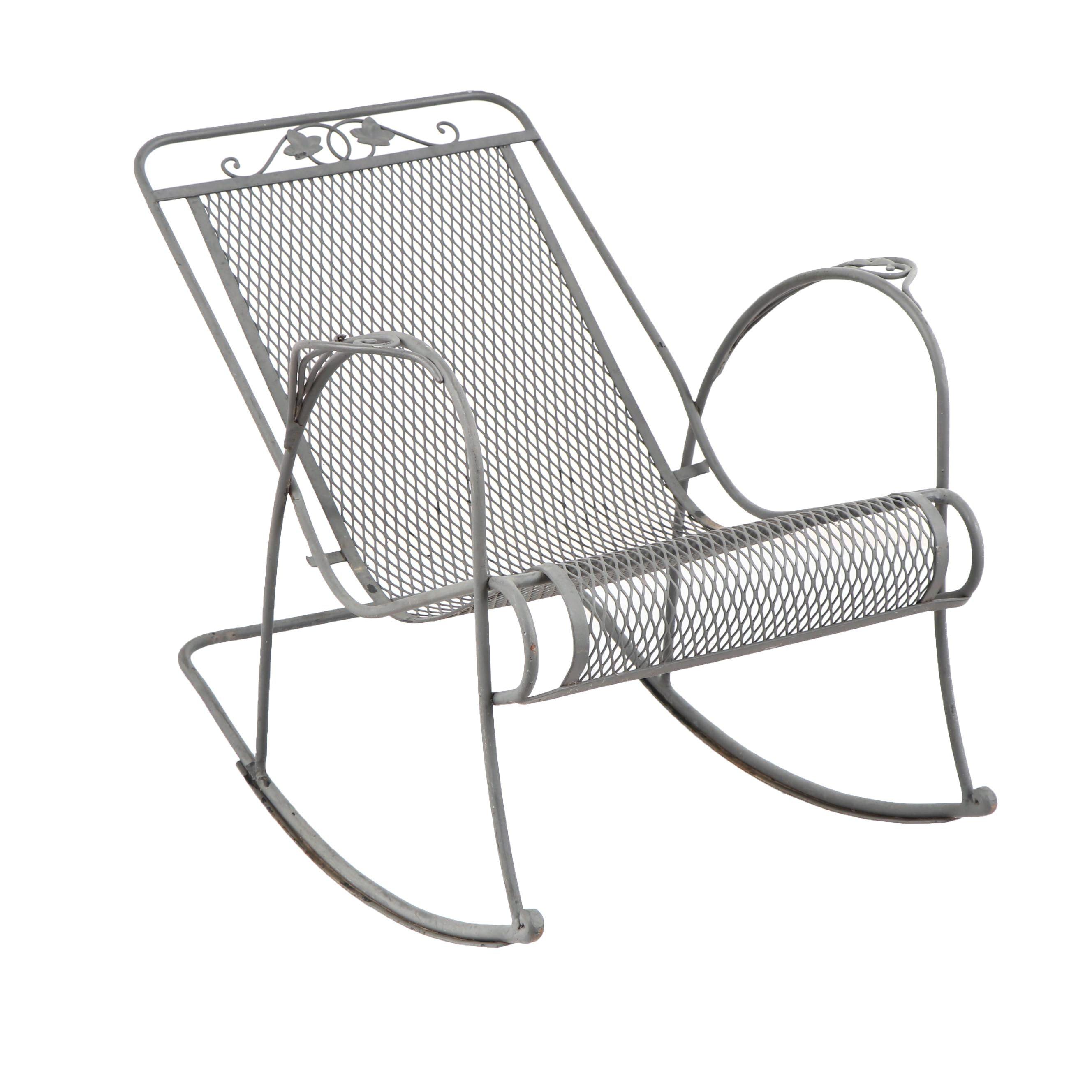 Metal Foliate Motif Patio Rocking Chair