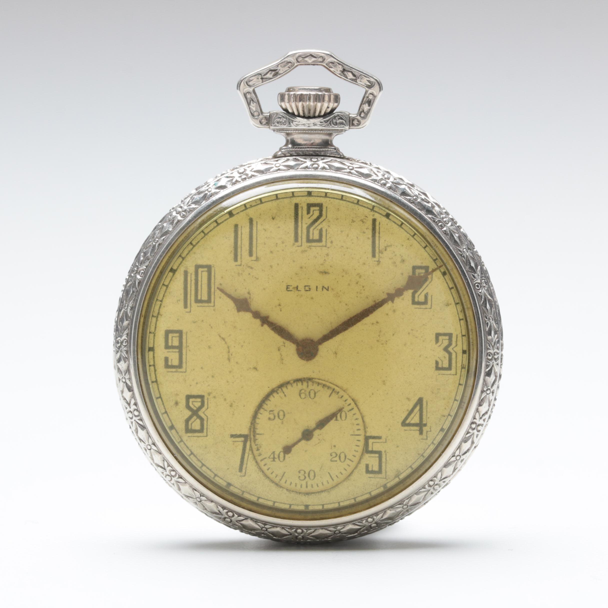 Circa 1925 Elgin 10K Gold Filled Open Face Pocket Watch