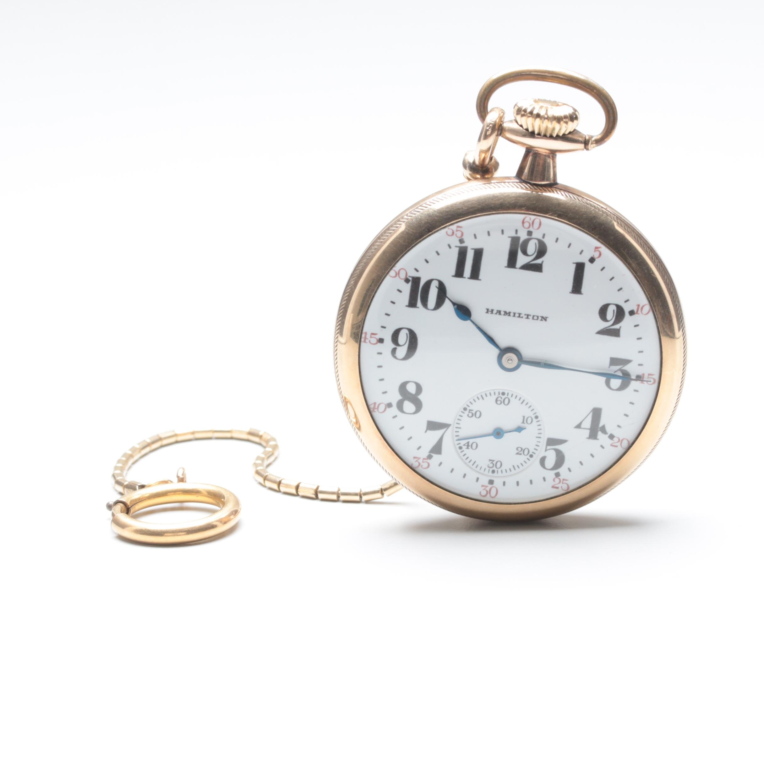 Circa 1915 Hamilton Gold Filled Open Face Pocket Watch with Fob