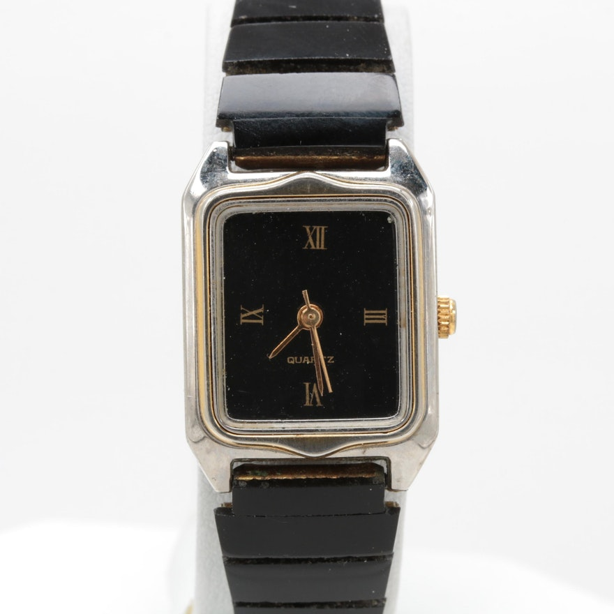 b47c841c9747 Silver and Gold Tone Black Plastic Quartz Wristwatch   EBTH