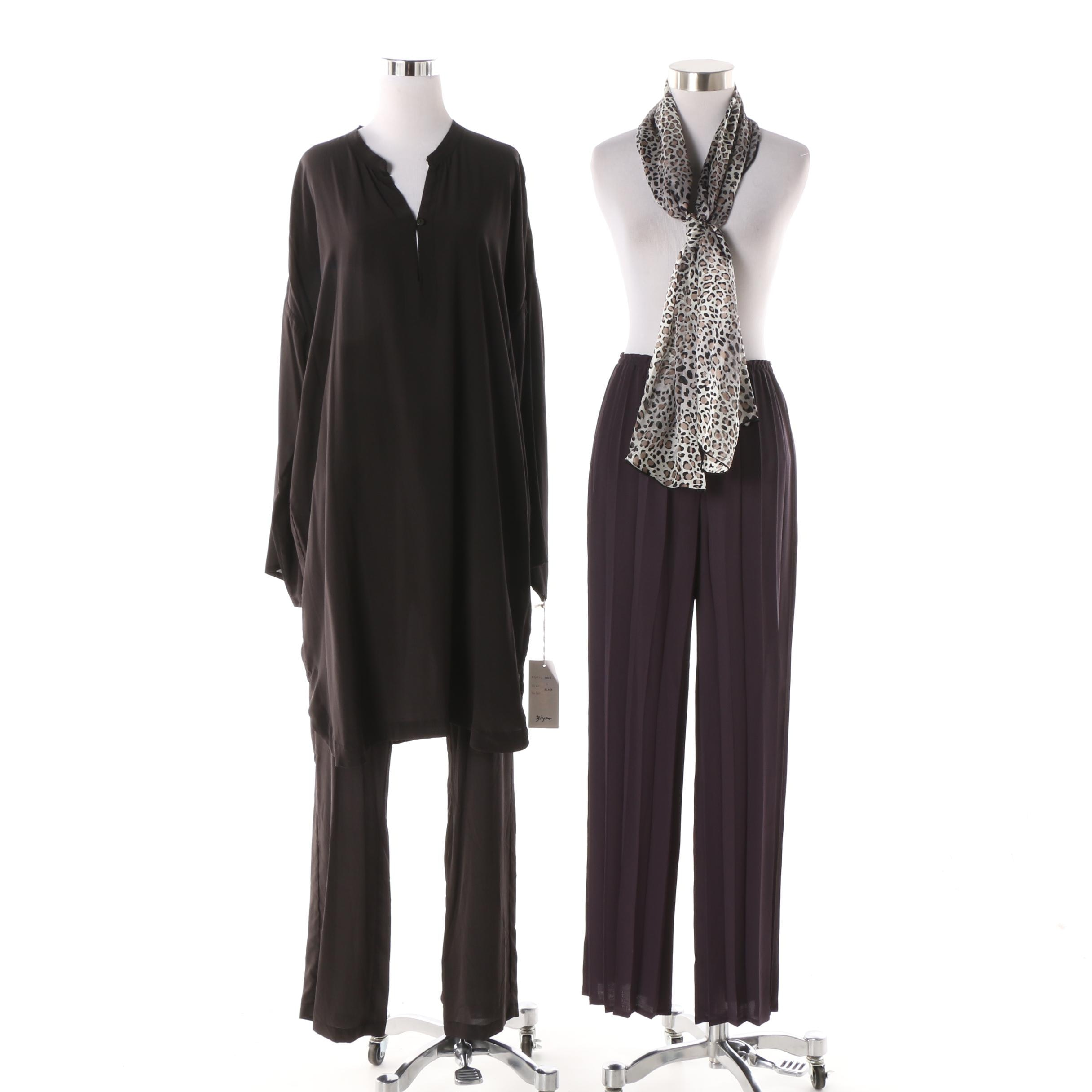 Biya Brown Tunic and Pant Set with Babette Pants and Fraas Scarf