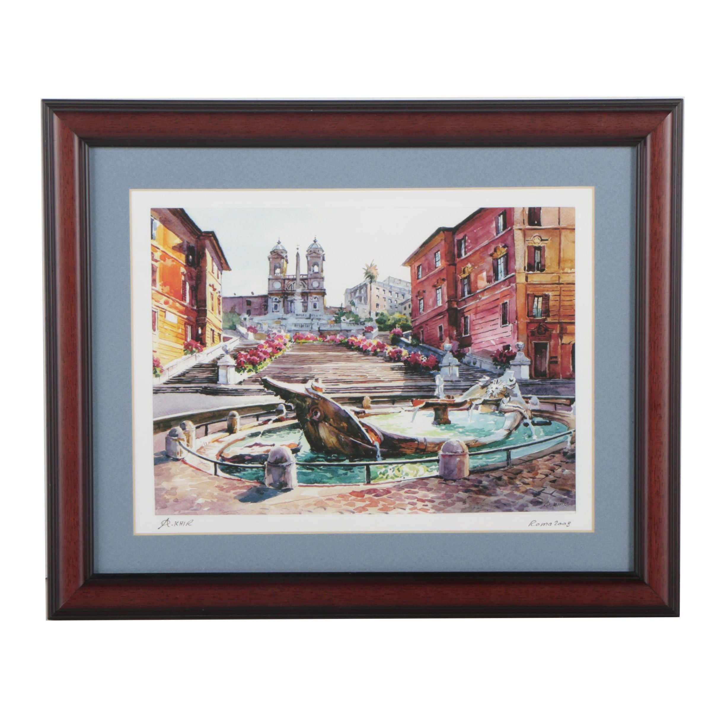 "A. Khir Watercolor Painting ""Roma"""