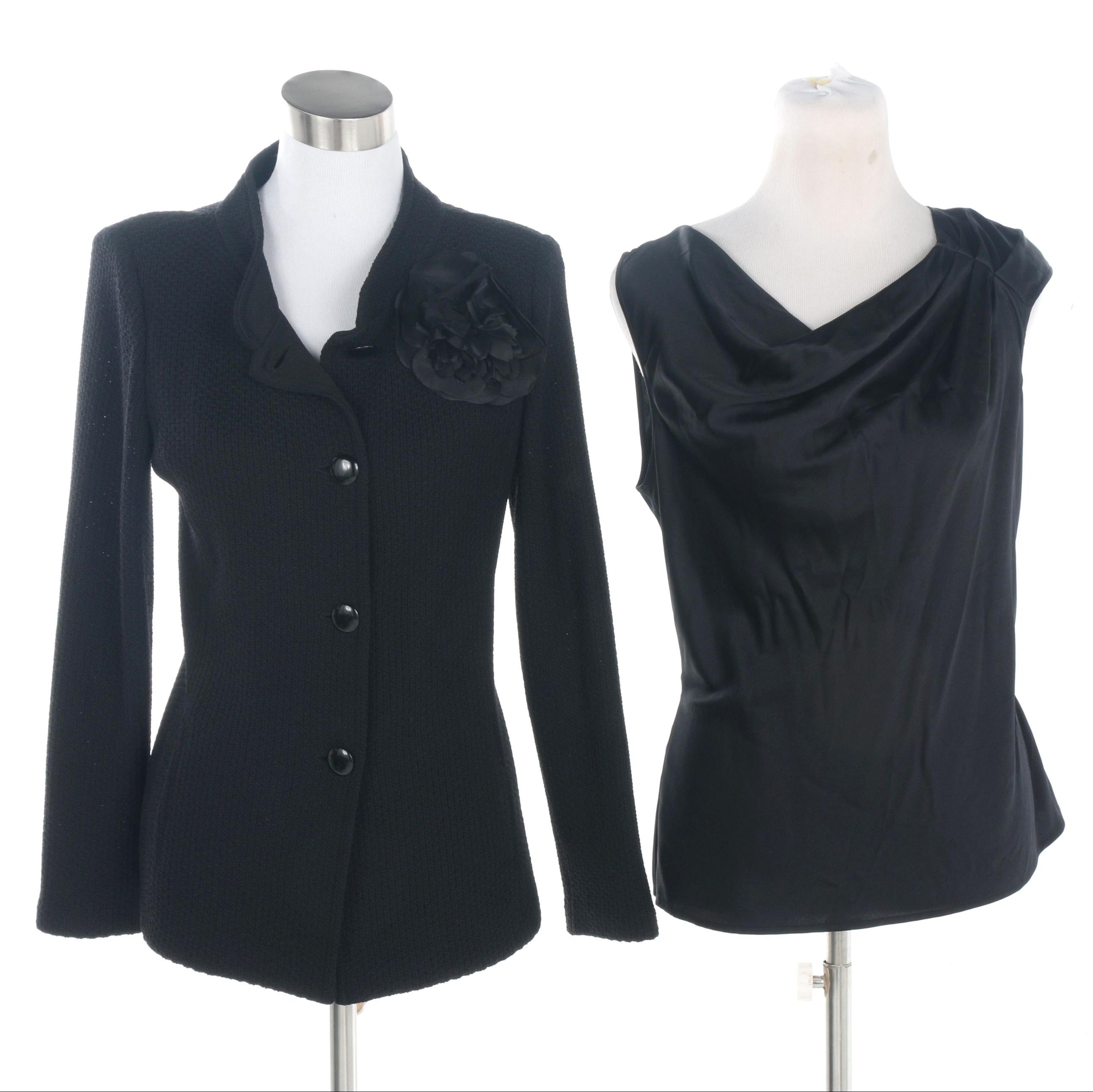 Women's St. John Caviar Black Jacket and St. John Sleeveless Blouse