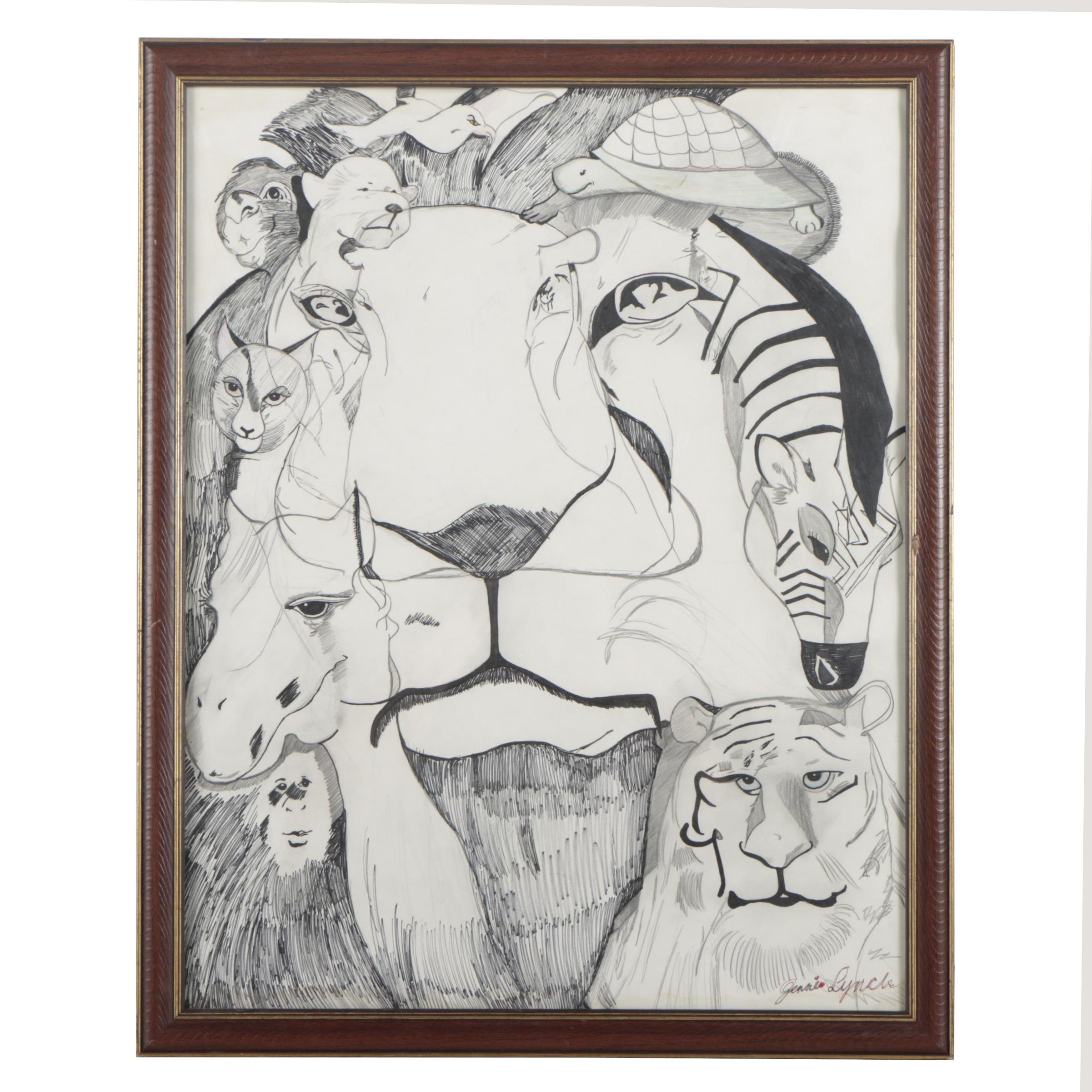 Jenni Lynch Ink and Graphite Drawing of Animals