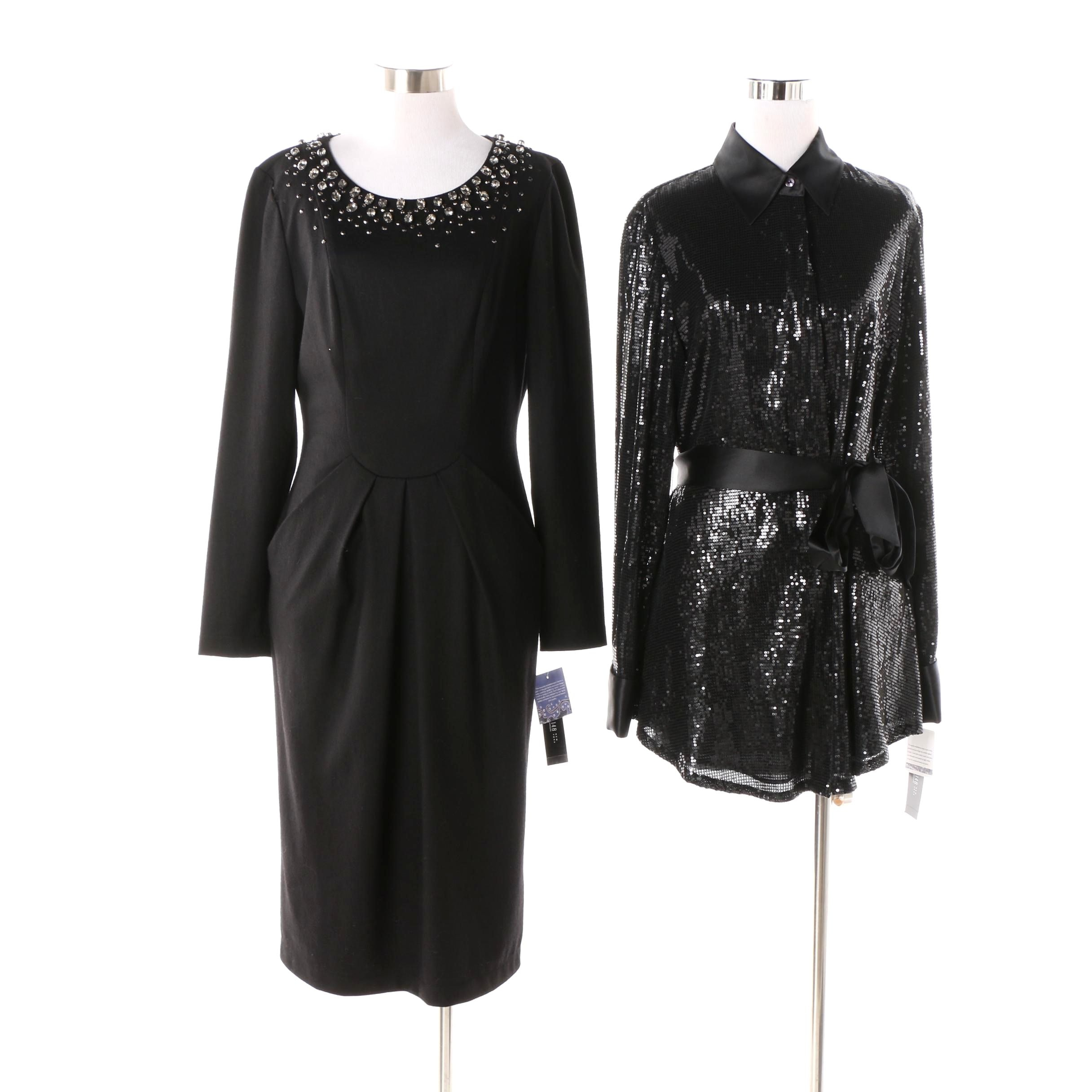 Lafayette 148 New York Embellished Black Dress and Sequined Shirt