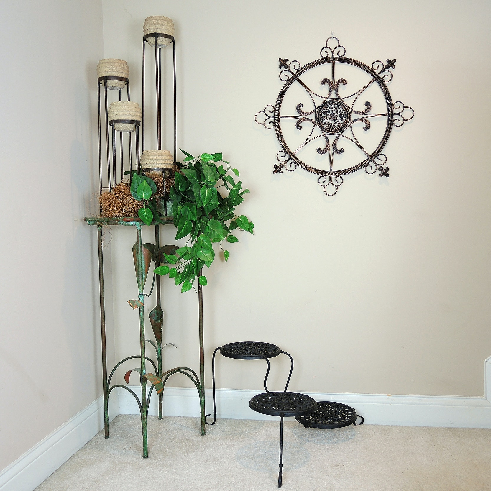 Copper and Glass Accent Table, Plant Stand, Planters, and More