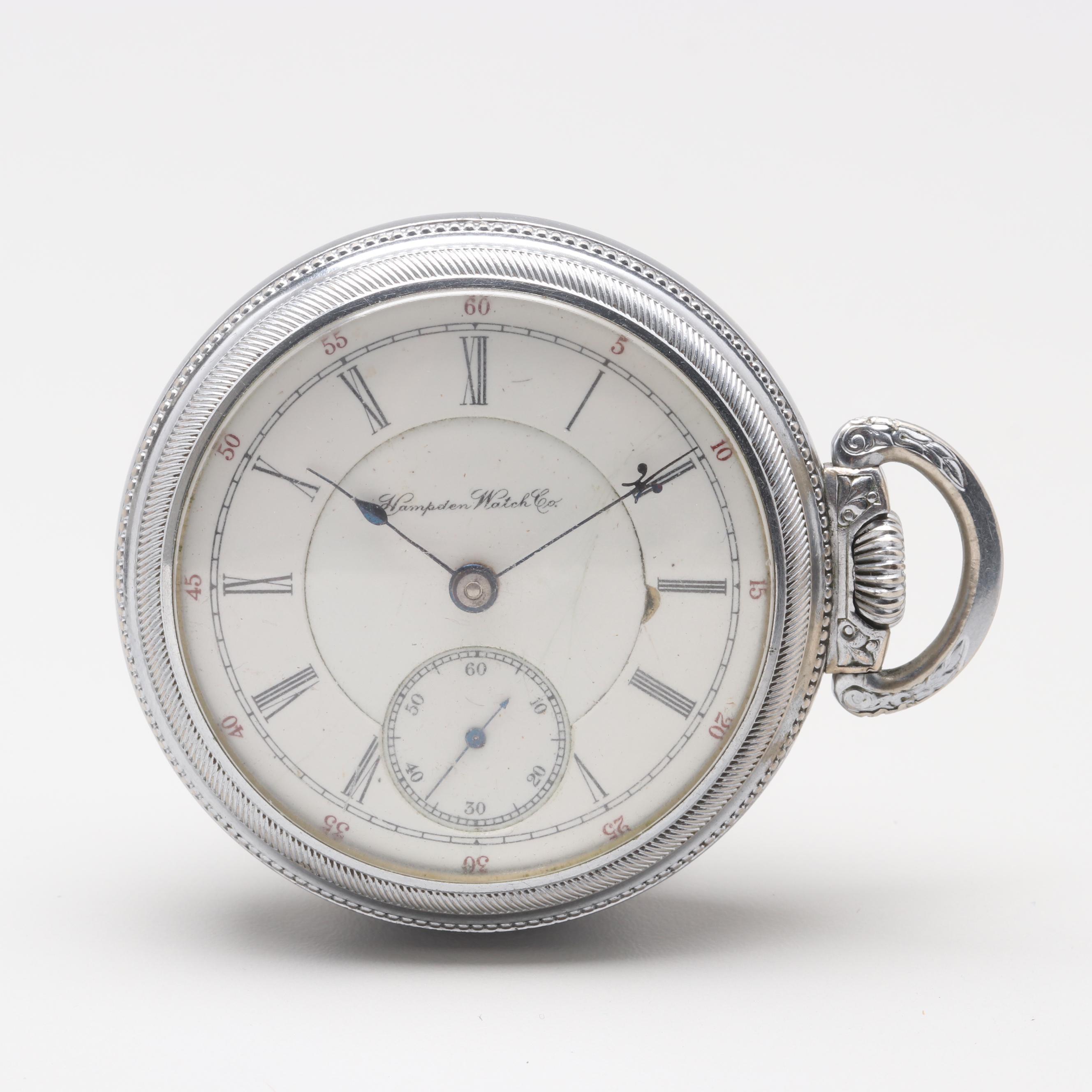 Circa 1897 Hampden Watch Co. Silver Tone Railroad Grade Open Face Pocket Watch