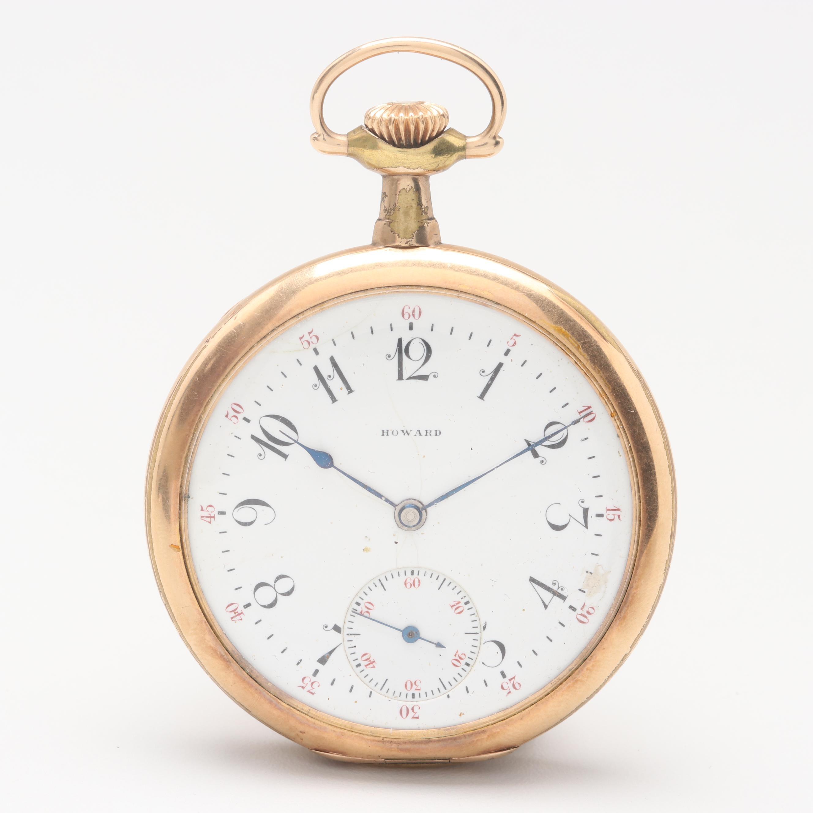 Circa 1909 Howard Gold Filled Open Face Pocket Watch