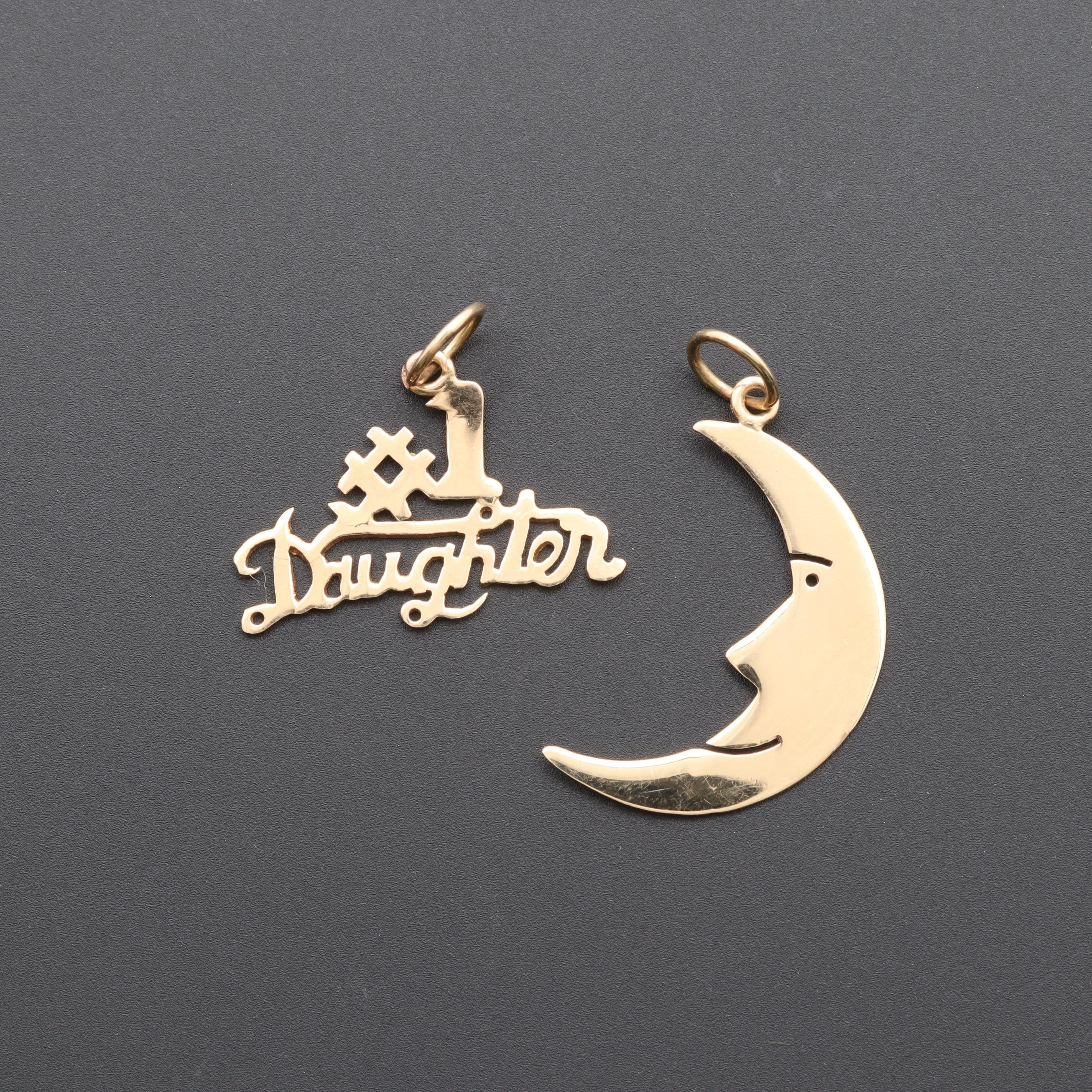 14K Yellow Gold Moon Pendant and #1 Daughter Pendant