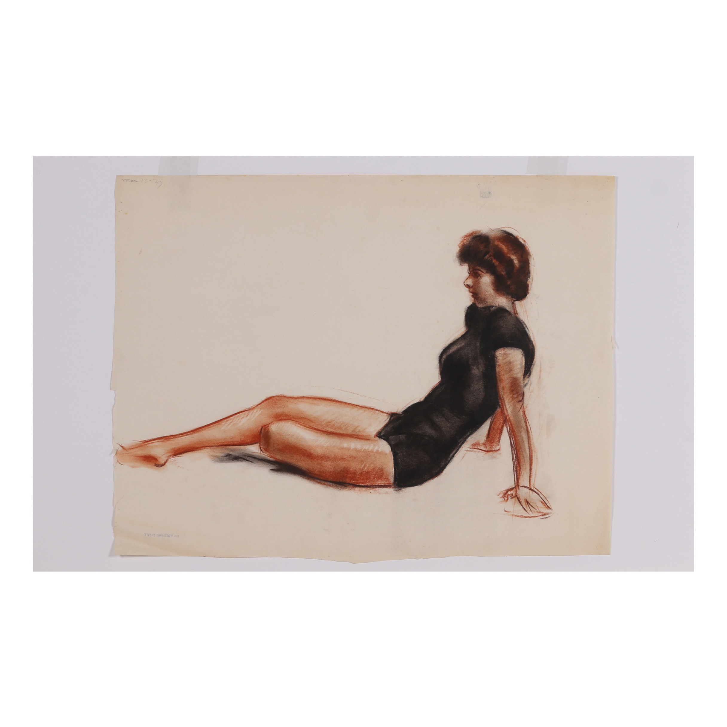 "Robert Whitmore Pastel Drawing ""Female Study II"""