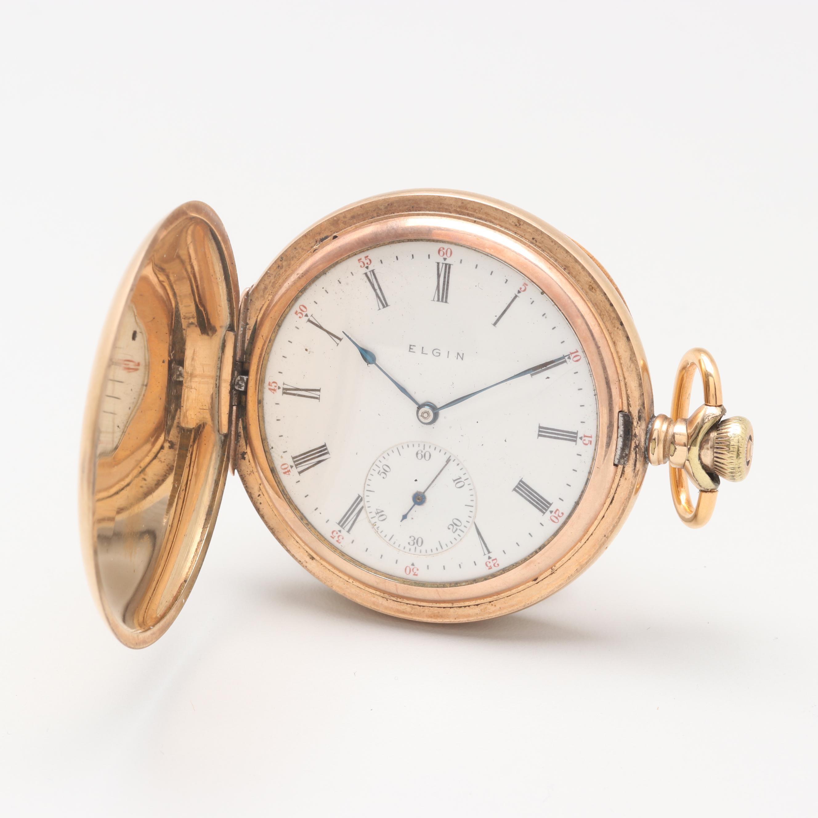 Circa 1907 Elgin Gold Filled Hunting Case Pocket Watch