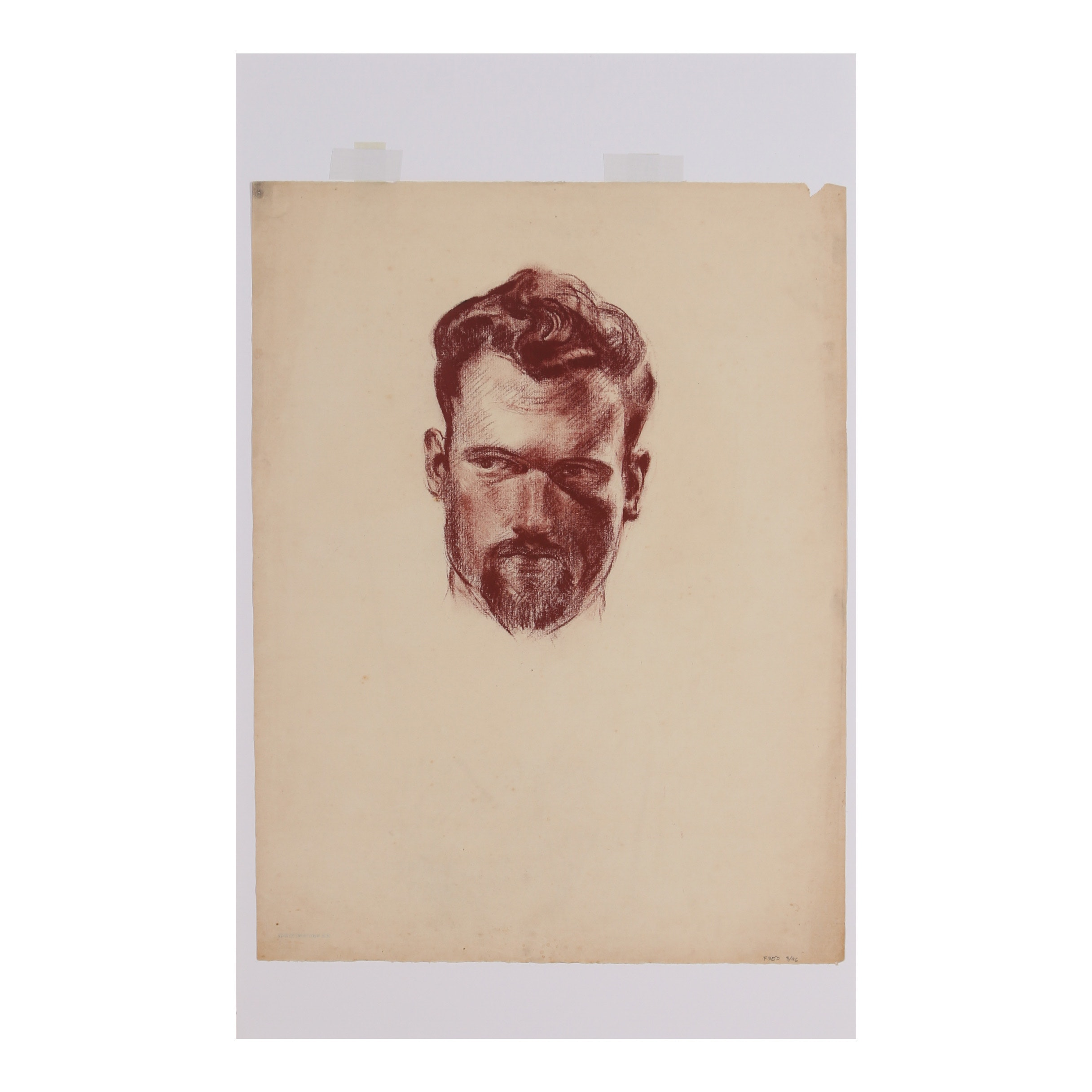 "Robert Whitmore Conté Crayon Drawing ""Male with Beard"""