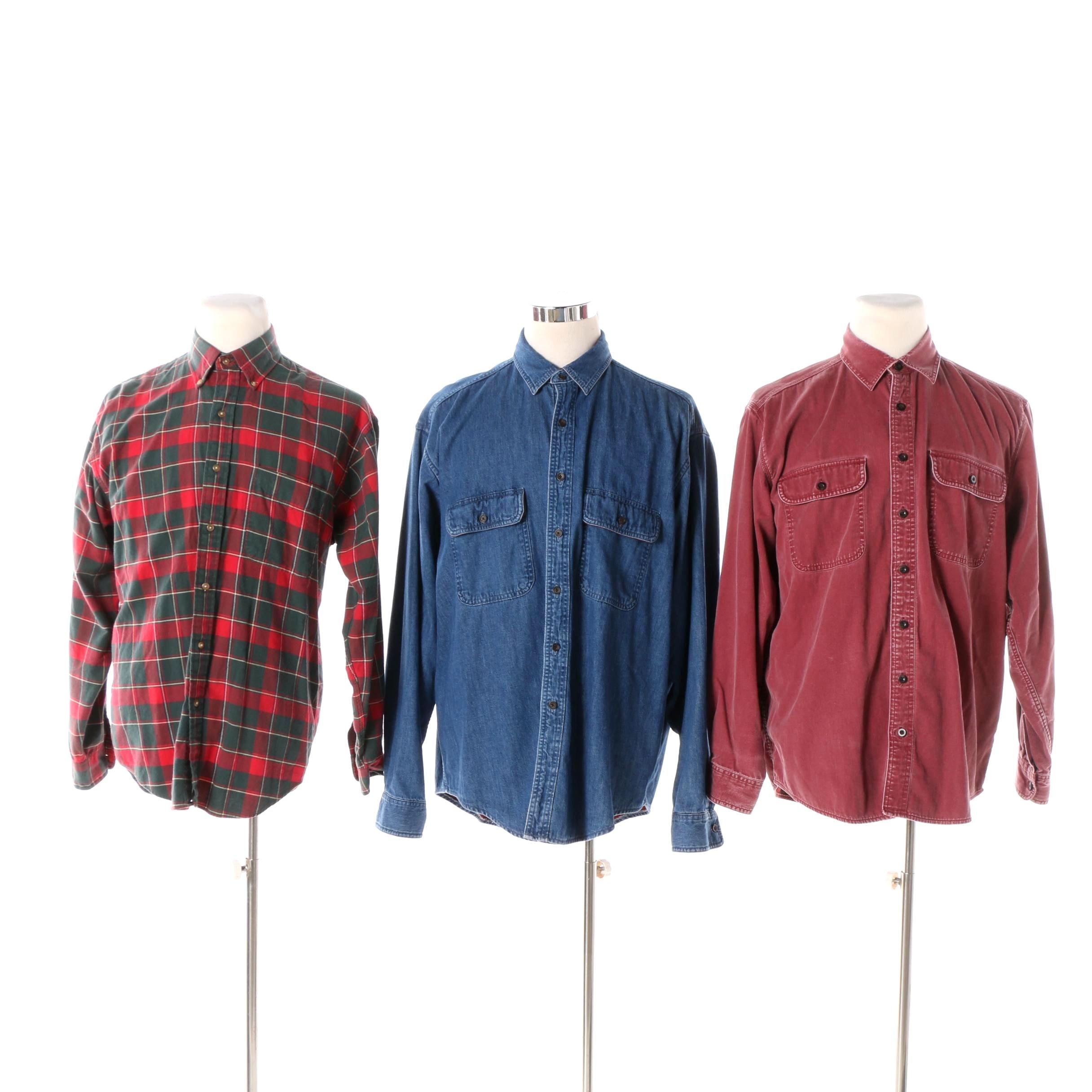 Men's L.L. Bean and Eddie Bauer Cotton Button-Front Shirts