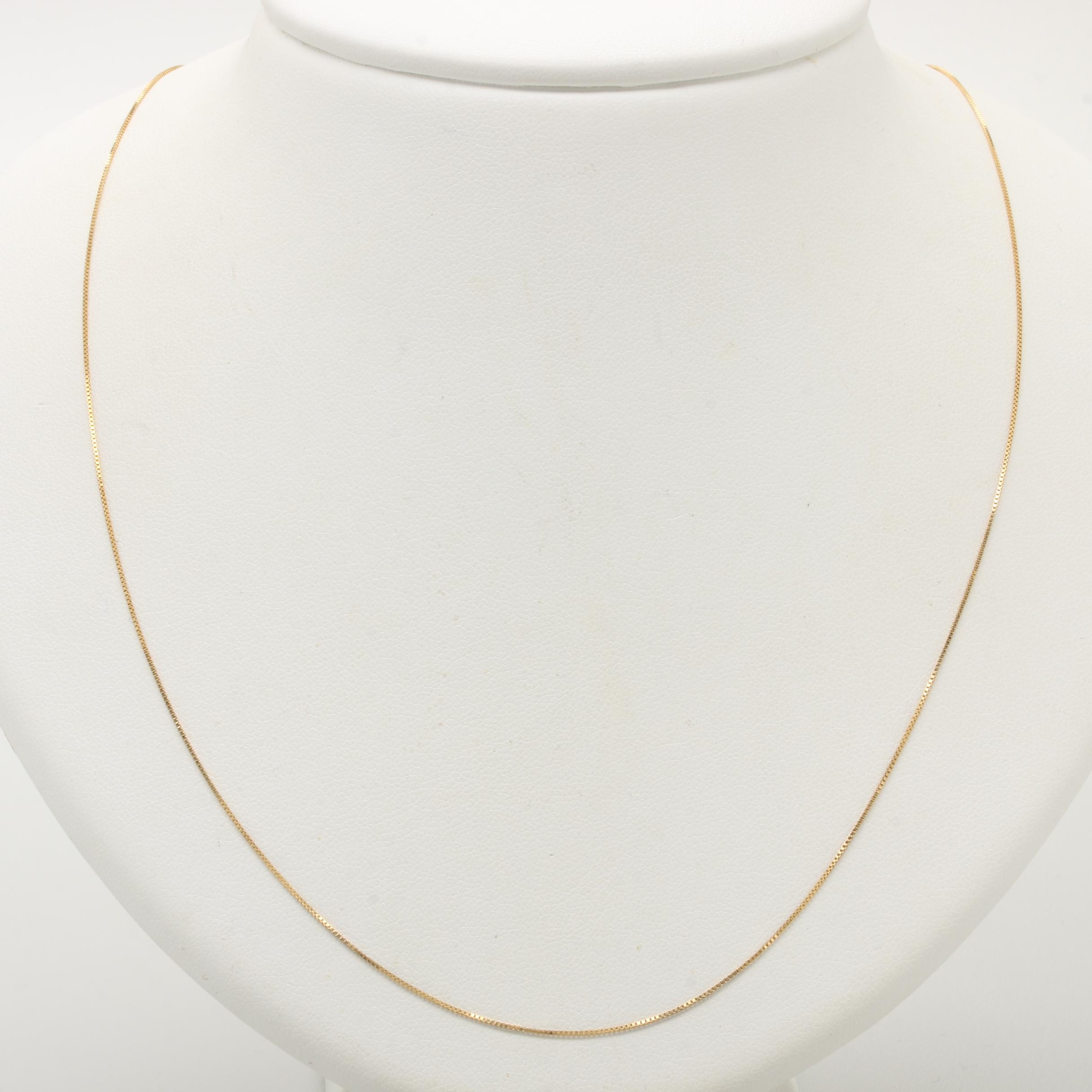 Italian 18K Yellow Gold Box Chain Necklace